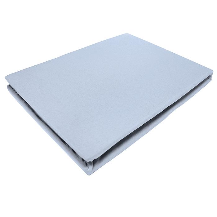 Простыня на резинке ЭГО, цвет: голубой, 180 х 200 смЭ-ПР-03-36Трикотажная простыня ЭГО изготовлена из 100 % хлопка высокого качества. Натуральный, экологически чистый материал обеспечивает высокую гигиеничность изделия. Трикотаж имеет специальную структуру, образованную переплетением петель, что обеспечивает его растяжимость и эластичность. Наличие резинки позволяет легко зафиксировать простыню на матрасе. Она не сминается и не комкается во время сна. Трикотаж достаточно эластичен, поэтому изделия из него можно даже не гладить. Если простыня немного больше кровати, с помощью резинки ее можно подогнать под размер кровати, учитывая толщину матраса. Также ее можно использовать в качестве наматрасника. Резинка пришита по всему периметру простыни. Плотность 140 г/м2. Уход: машинная стирка при температуре 60°C. Не отбеливать.