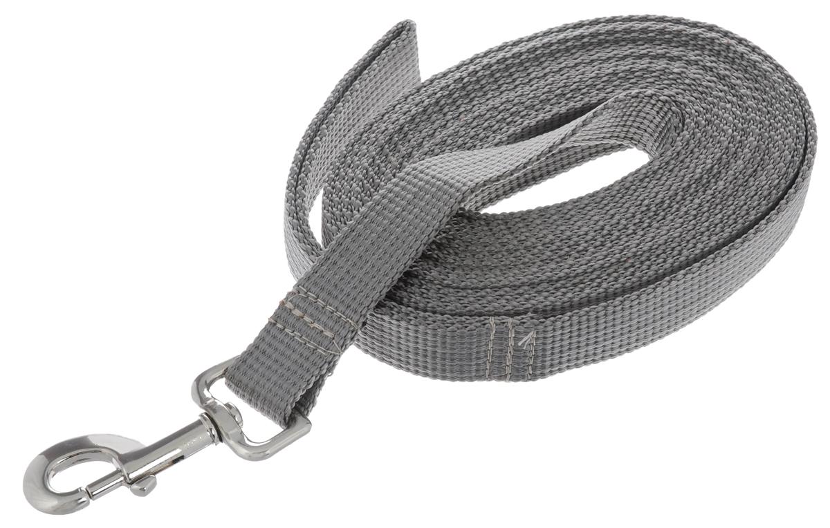 Поводок капроновый для собак Аркон, цвет: серый, ширина 2,5 см, длина 5 мпк5м25Поводок для собак Аркон изготовлен из высококачественного цветного капрона и снабжен металлическим карабином. Изделие отличается не только исключительной надежностью и удобством, но и привлекательным современным дизайном. Поводок - необходимый аксессуар для собаки. Ведь в опасных ситуациях именно он способен спасти жизнь вашему любимому питомцу. Иногда нужно ограничивать свободу своего четвероногого друга, чтобы защитить его или себя от неприятностей на прогулке. Длина поводка: 5 м. Ширина поводка: 2,5 см.
