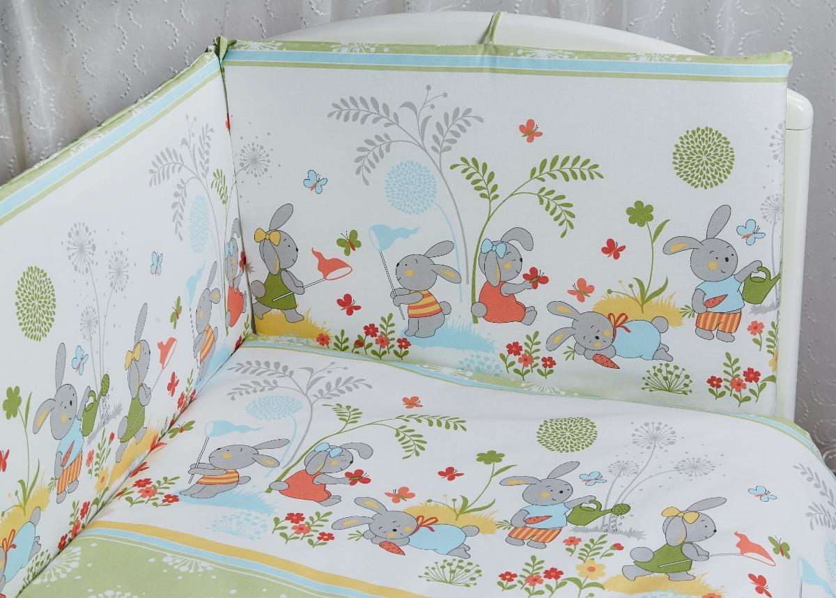 Rabby Baby Комплект детского постельного белья На лужайке цвет зеленый315944/3Пододеяльник 147х112см Наволочка 60х40см Простыня на резинке на спальное место 120*60