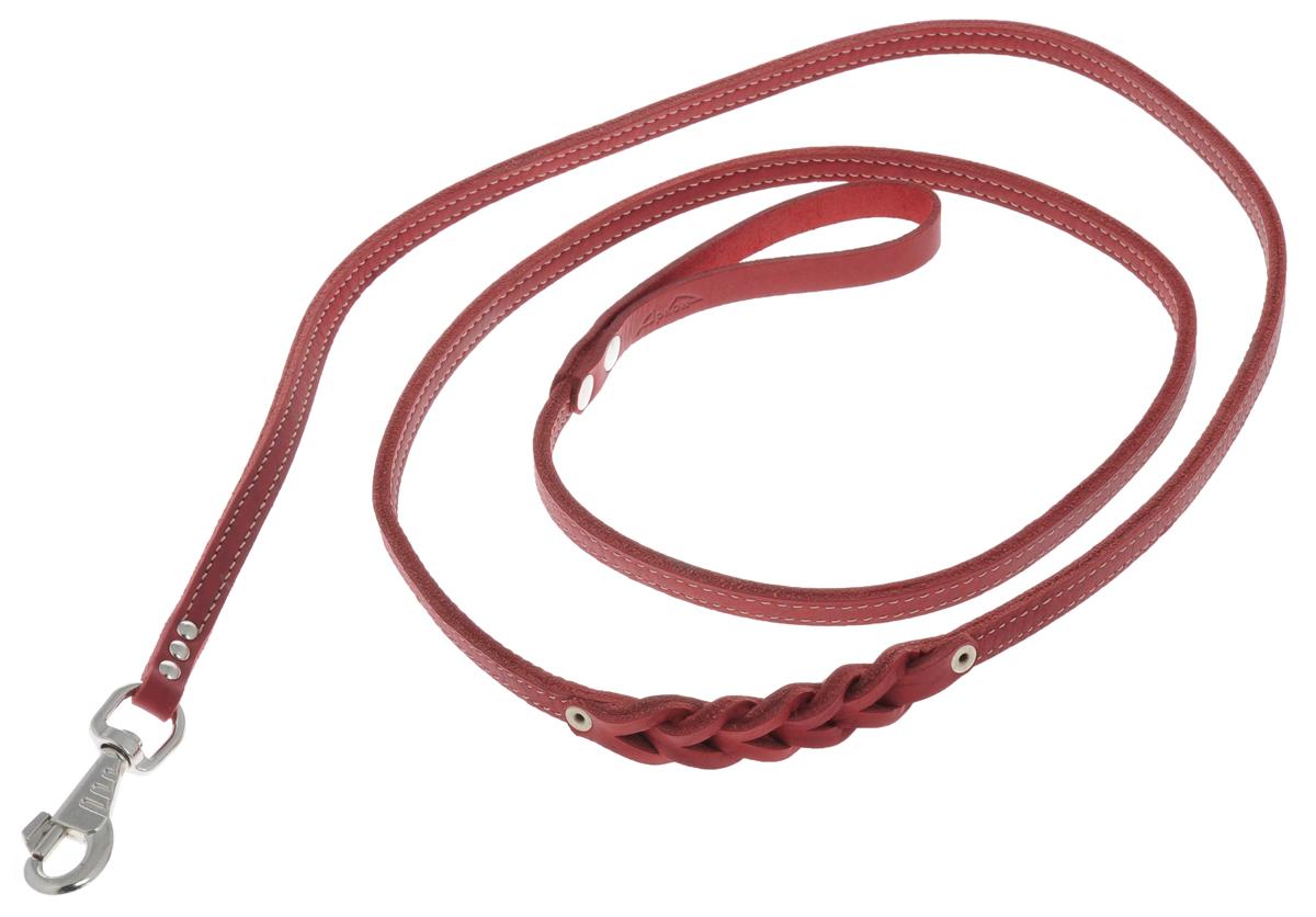 Поводок для собак Аркон Стандарт, цвет: красный, ширина 1,2 см, длина 250 смп12/2дкрПоводок для собак Аркон Стандарт изготовлен из высококачественной натуральной кожи и украшен декором в виде плетения. Карабин выполнен из легкого сверхпрочного сплава. Изделие отличается не только исключительной надежностью и удобством, но и привлекательным современным дизайном. Поводок - необходимый аксессуар для собаки. Ведь в опасных ситуациях именно он способен спасти жизнь вашему любимому питомцу. Иногда нужно ограничивать свободу своего четвероногого друга, чтобы защитить его или себя от неприятностей на прогулке. Длина поводка: 250 см. Ширина поводка: 1,2 см.