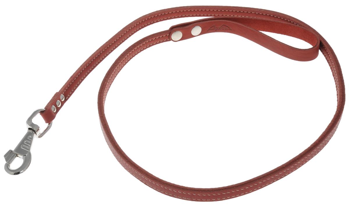 Поводок для собак Аркон Стандарт, цвет: красный, ширина 1,2 см, длина 140 смп12/2крПоводок для собак Аркон Стандарт изготовлен из высококачественной натуральной кожи. Карабин выполнен из легкого сверхпрочного сплава. Изделие отличается не только исключительной надежностью и удобством, но и привлекательным современным дизайном. Поводок - необходимый аксессуар для собаки. Ведь в опасных ситуациях именно он способен спасти жизнь вашему любимому питомцу. Иногда нужно ограничивать свободу своего четвероногого друга, чтобы защитить его или себя от неприятностей на прогулке. Длина поводка: 140 см. Ширина поводка: 1,2 см.