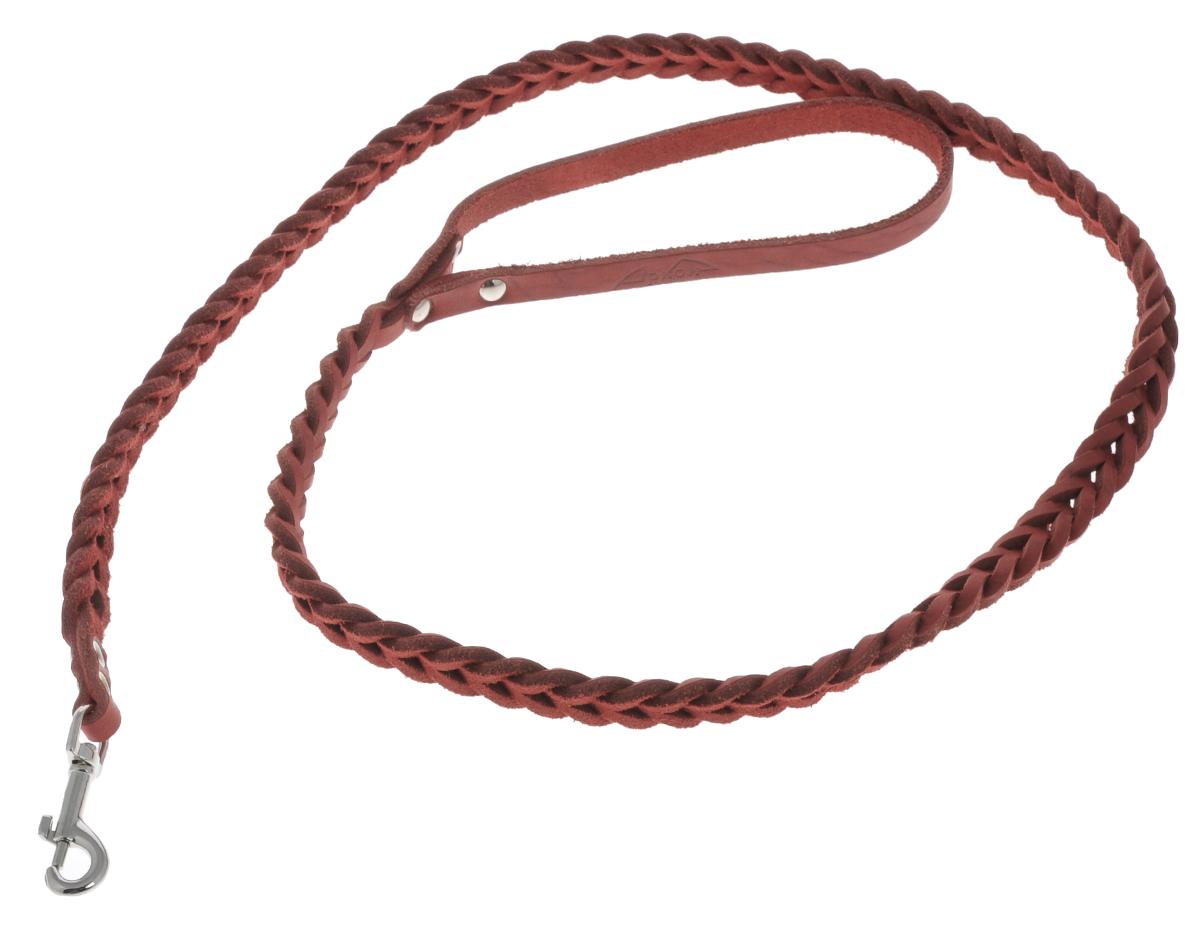 Поводок для собак Аркон Плетенка, цвет: красный, ширина 1,6 см, длина 120 смпл8крПоводок для собак Аркон Плетенка изготовлен из высококачественной натуральной кожи в виде плетения. Карабин выполнен из легкого сверхпрочного сплава. Изделие отличается не только исключительной надежностью и удобством, но и привлекательным современным дизайном. Поводок - необходимый аксессуар для собаки. Ведь в опасных ситуациях именно он способен спасти жизнь вашему любимому питомцу. Иногда нужно ограничивать свободу своего четвероногого друга, чтобы защитить его или себя от неприятностей на прогулке. Длина поводка: 120 см. Ширина поводка: 1,6 см.