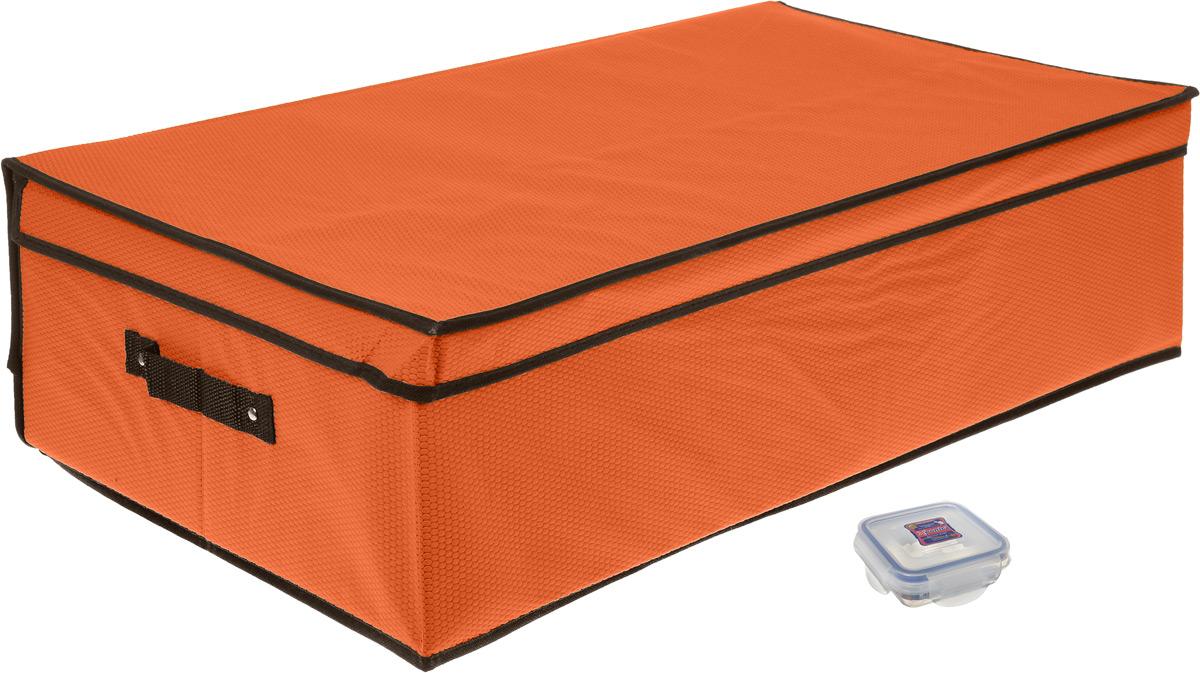 Кофр для хранения El Casa Соты, складной, цвет: оранжевый, 70 x 40 x 20 см + ПОДАРОК: Контейнер для хранения продуктов Xeonic, 110 мл370034+2Вместительный кофр El Casa Соты, изготовленный из дышащего нетканого волокна, предназначен для хранения одеял, пледов и домашнего текстиля. Специальный нетканый материал позволяет воздуху проникать внутрь, при этом надежно защищая вещи от грязи, пыли и насекомых. Оригинальный дизайн сделает вашу гардеробную красивой и невероятно стильной. Размер кофра (в собранном виде): 70 см х 40 см х 20 см. В подарок к кофру прилагается герметичный контейнер для продуктов. Контейнер для хранения продуктов выполнен из высококачественного полипропилена. Он имеет 100% герметичность, термоустойчив, может быть использован в микроволновой печи и в морозильной камере, устойчив к воздействию масел и жиров, не впитывает запах. Удобен в использовании, долговечен, легко открывается и закрывается, не занимает много места. Контейнер можно мыть в посудомоечной машине. Размер контейнера: 9,5 см х 9,5 см х 3 см. Объем контейнера: 110 мл.