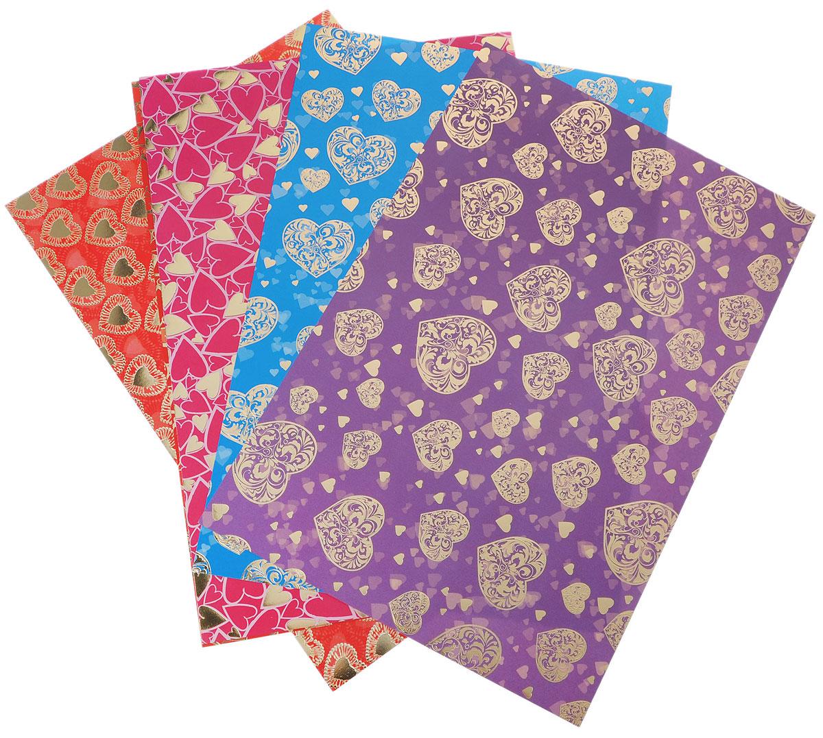 Альт Цветной картон Сердечки 5 цветов