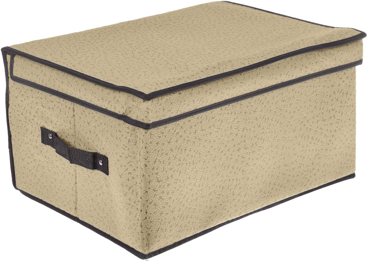 Кофр для хранения El Casa Звезды, складной, цвет: светло-бежевый, 60 x 40 x 30 см370031Компактный складной кофр El Casa Звезды изготовлен из высококачественного нетканого материала, который обеспечивает естественную вентиляцию, позволяя воздуху проникать внутрь, но не пропускает пыль. Вставки из плотного картона хорошо держат форму. Кофр оснащен 2 удобными ручками, которые позволяют использовать его в качестве выдвижного ящика в гардеробе или шкафу. Изделие закрывается откидной крышкой. Оригинальный дизайн будет отлично смотреться в любом интерьере. Размер кофра (в собранном виде): 60 х 40 х 30 см.