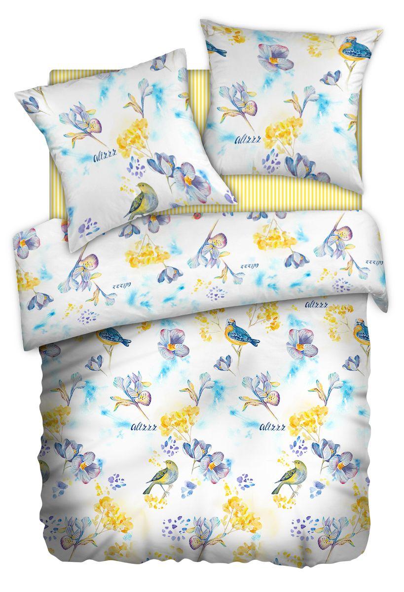 Комплект белья Carte Blanshe Little birds, 1,5 спальное, наволочки 70x70, цвет: желтый. 333453333453Коллекция эксклюзивного постельного белья, созданная итальянскими дизайнерами прекрасного старинного городка Италии — Riva del Gard. Постельное белье выполнено из великолепной ткани премиум — класса «Percale Soft Touch». Эта ткань произведена из 100% натурального хлопка имеет специальную обработку «Wise Silk», которая придает дополнительную гладкость и шелковистость ткани. Благодаря специальной обработке ткань более приятная на ощупь, практически не мнется.