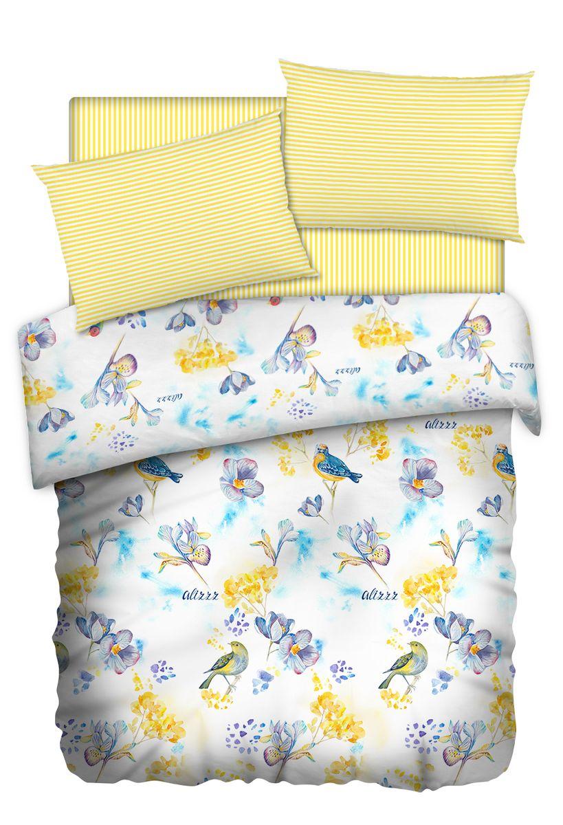 Комплект белья Carte Blanshe Little birds, 1,5 спальное, наволочки 50x70, цвет: желтый. 333444333444Коллекция эксклюзивного постельного белья, созданная итальянскими дизайнерами прекрасного старинного городка Италии — Riva del Gard. Постельное белье выполнено из великолепной ткани премиум — класса «Percale Soft Touch». Эта ткань произведена из 100% натурального хлопка имеет специальную обработку «Wise Silk», которая придает дополнительную гладкость и шелковистость ткани. Благодаря специальной обработке ткань более приятная на ощупь, практически не мнется.