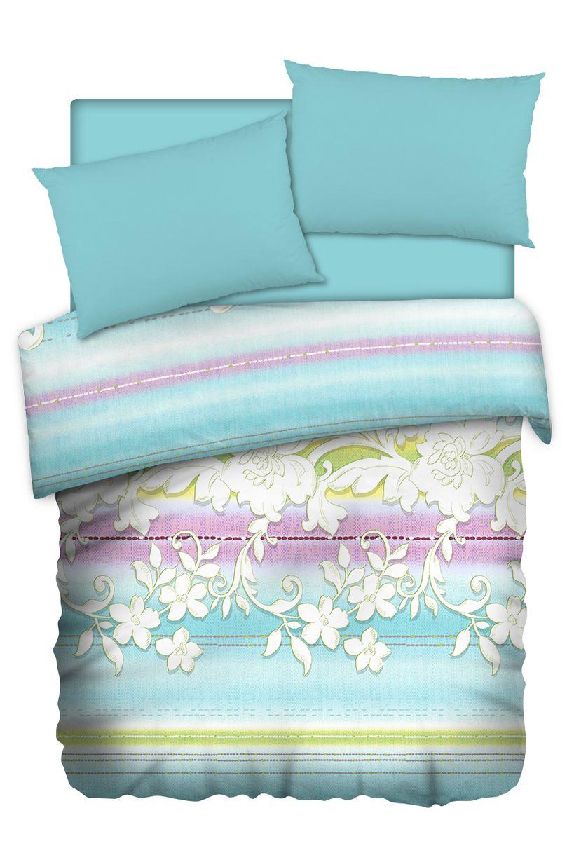 Комплект белья Carte Blanshe Jade, 2-х спальное, наволочки 50x70, цвет: голубой. 333464333464Коллекция эксклюзивного постельного белья, созданная итальянскими дизайнерами прекрасного старинного городка Италии — Riva del Gard. Постельное белье выполнено из великолепной ткани премиум — класса «Percale Soft Touch». Эта ткань произведена из 100% натурального хлопка имеет специальную обработку «Wise Silk», которая придает дополнительную гладкость и шелковистость ткани. Благодаря специальной обработке ткань более приятная на ощупь, практически не мнется.