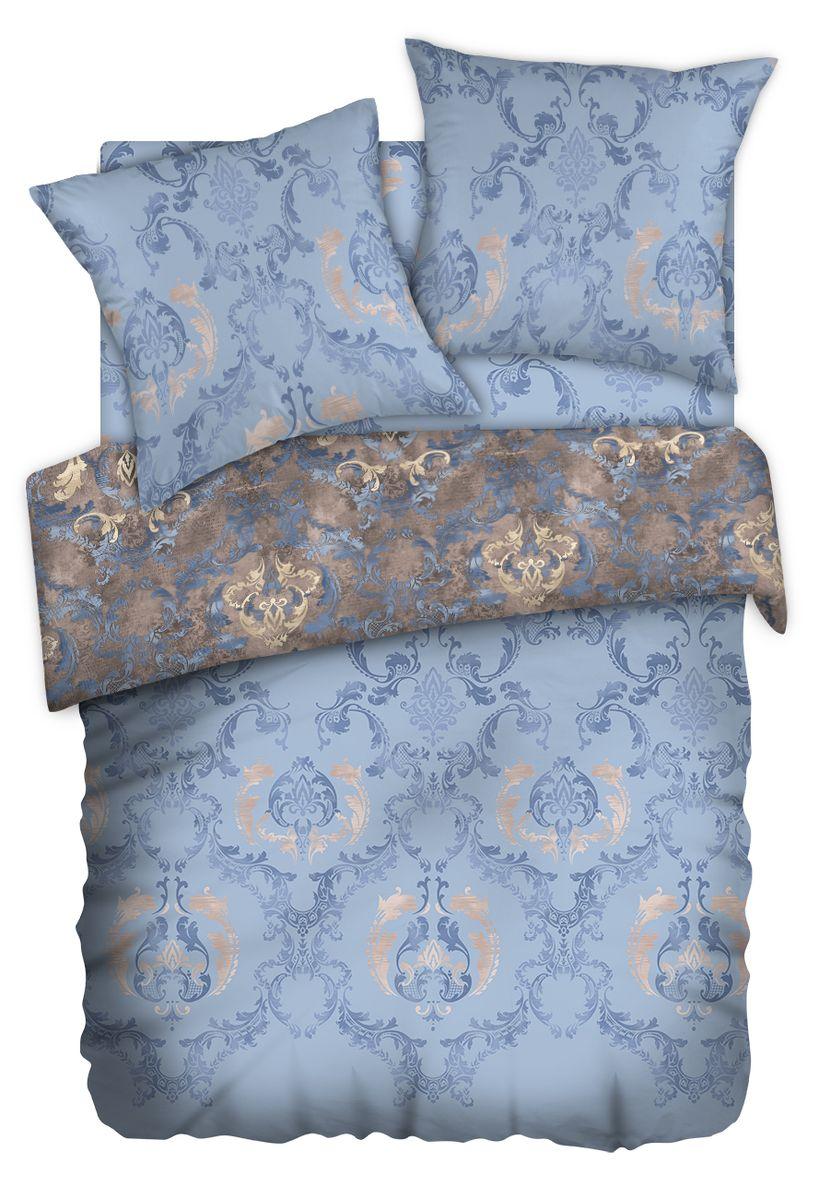 Комплект белья Carte Blanshe Vintage blue, 2-х спальное, наволочки 70x70, цвет: синий. 333475333475Коллекция эксклюзивного постельного белья, созданная итальянскими дизайнерами прекрасного старинного городка Италии — Riva del Gard. Постельное белье выполнено из великолепной ткани премиум — класса «Percale Soft Touch». Эта ткань произведена из 100% натурального хлопка имеет специальную обработку «Wise Silk», которая придает дополнительную гладкость и шелковистость ткани. Благодаря специальной обработке ткань более приятная на ощупь, практически не мнется.