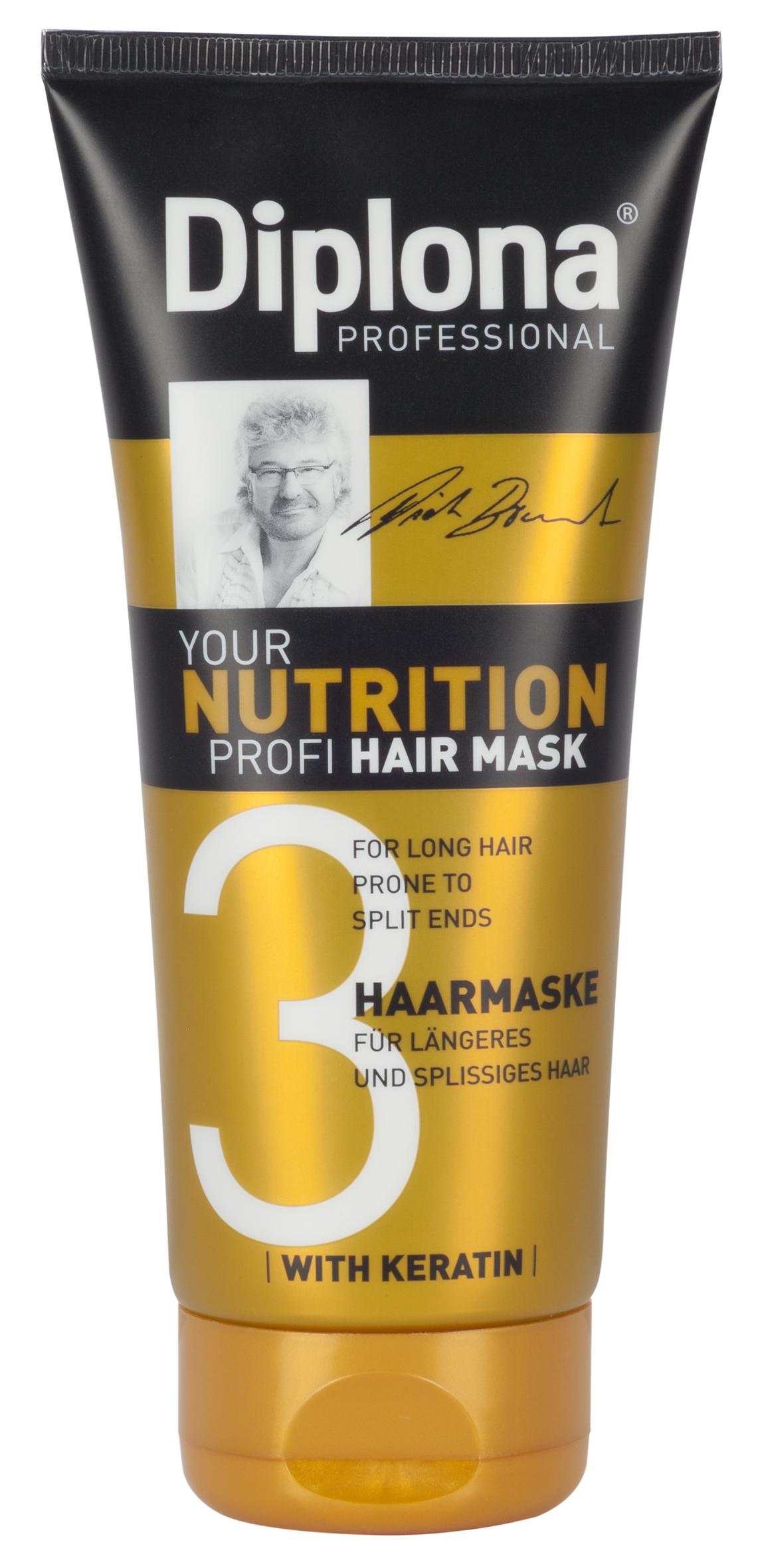 Маска для волос Diplona Professional Your Nutrition Profi, для длинных, секущихся волос, 200 мл95180Маска для волос Diplona Professional Your Nutrition Profi - питательный уход для длинных, секущихся волос. Основные компоненты: Пантенол - помогает восстановить поврежденные волосяные луковицы и секущиеся концы волос. Масло Ши - имеет схожий с липидами волос состав, поэтому легко заполняет образовавшиеся в кутикуле трещины, восстанавливая ее структуру и возвращая волосам силу. Обладает смягчающими, увлажняющими и регенерирующими свойствами. Протеины пшеницы - обладает увлажняющими, восстанавливающими свойствами, усиливает естественные функции кожи, в том числе активизируют механизмы защиты. Витамин В3 - благодаря своему сосудорасширяющему действию позволяет облегчить проникновение активных веществ, что благоприятно влияет на рост волос. Глицерин - проникает во внутрь волоса, удерживает в нем влагу, тем самым делая его прочным и упругим. Антистатик - предупреждает электризацию волос, смягчает волосы, делая их послушными.