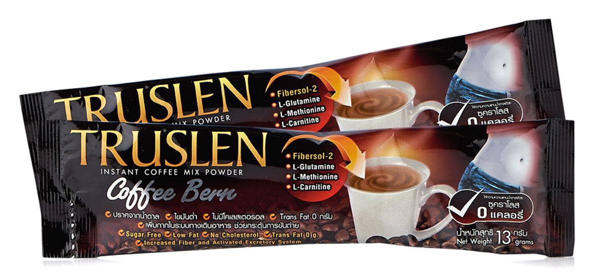 Truslen Coffee Bern кофейный напиток, 7 шт1348Полезный, быстрорастворимый напиток Truslen Coffee Bern, позволяющий контролировать массу тела. Не содержит сахара, консервантов, стабилизаторов, красителей и эмульгаторов. Входящие в состав компоненты способствуют сжиганию жира.