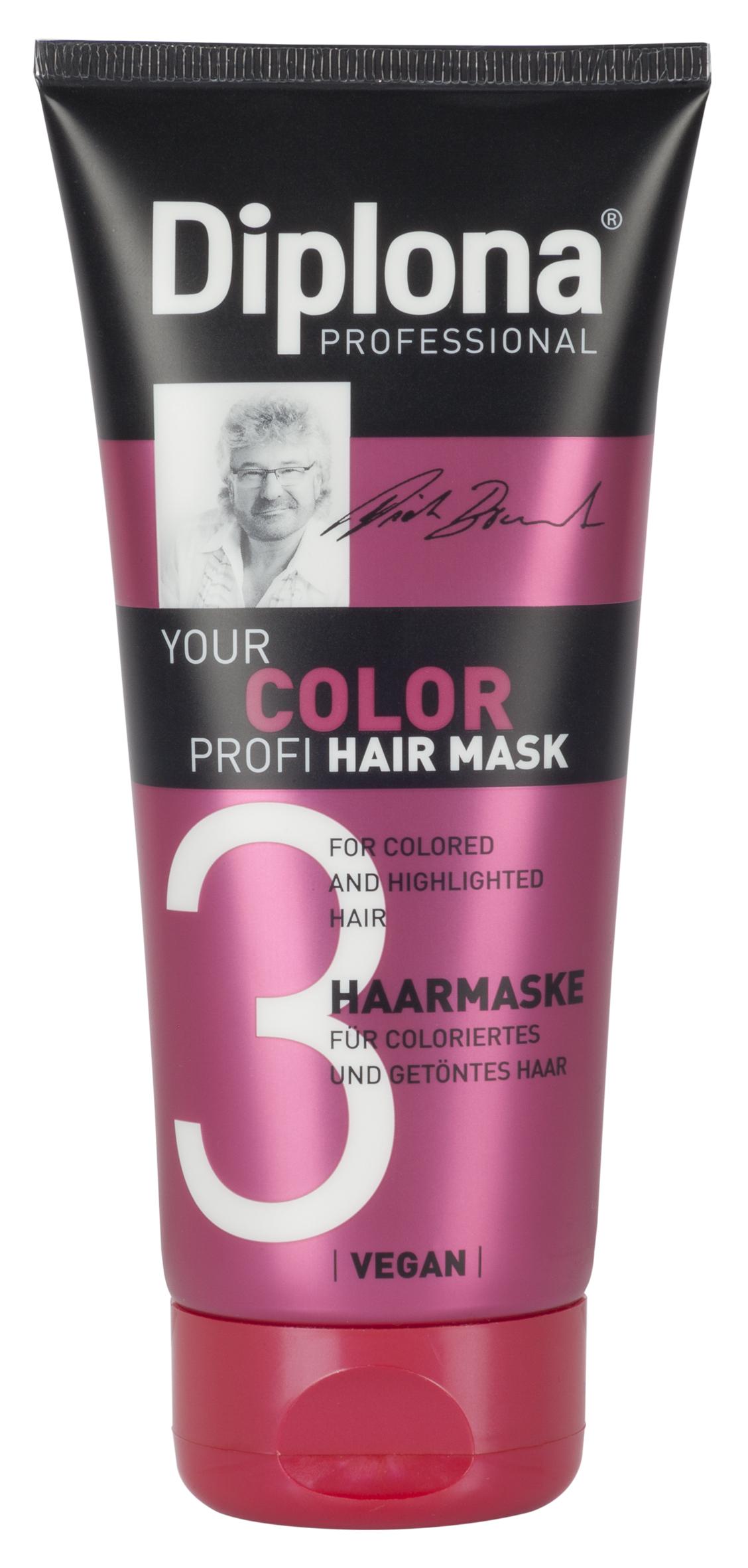 Маска для волос Diplona Professional Your Color Profi, для окрашенных и мелированных волос, 200 мл95181Маска для волос Diplona Professional Your Color Profi - бережный уход для окрашенных и мелированных волос. Основные компоненты: Масло жожоба - богато витамином Е, активизирует процессы регенерации. Обеспечивает защитный слой, не оставляет жирного блеска на коже и волосах. Пантенол - помогает восстановить поврежденные волосяные луковицы и секущиеся концы волос. УФ фильтр осторожно обволакивает волосы, тем самым защищая их от неблагоприятных факторов окружающей среды и предотвращая сухость, ломкость, потускнение и изменение цвета окрашенных и мелированных волос. Экстракт инжира - глубоко увлажняет и смягчает волосы, оказывает восстанавливающее действие. Витамин B3 - способствует росту волос. Протеины пшеницы - способствуют восстановлению блеска и эластичности волос, поддерживает и восстанавливает расщепленные кончики волос, что особенно актуально при использовании красителей для волос. Экстракт Алоэ Вера - регулирует водный баланс волос,...
