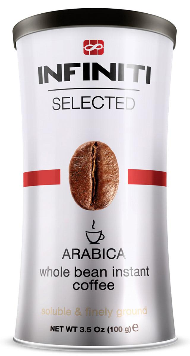 Infiniti Selected кофе растворимый, 100 г4260283250592Классический порошкообразный кофе Infiniti Selected с добавлением молотого. Бленд лучших сортов Арабики. Среднеобжаренный. Традиционный плотный вкус свежесваренного кофе. В каждой частице содержится молотый кофе ультратонкого помола.