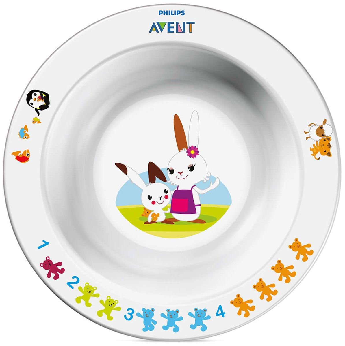 Philips Avent Глубокая тарелка 230 мл., 6 м+ SCF706/00SCF706/00Тарелка Philips Avent выполнена из яркого полипропилена и оформлена веселыми и красочными развивающими рисунками. Нескользящее основание предотвращает скольжение и переворачивание тарелки. Удобные широкие края идеальны для самостоятельного питания ребенка. Тарелку можно мыть в посудомоечной машине и стерилизовать, а также использовать в микроволновой печи. Не содержит бисфенол-А.