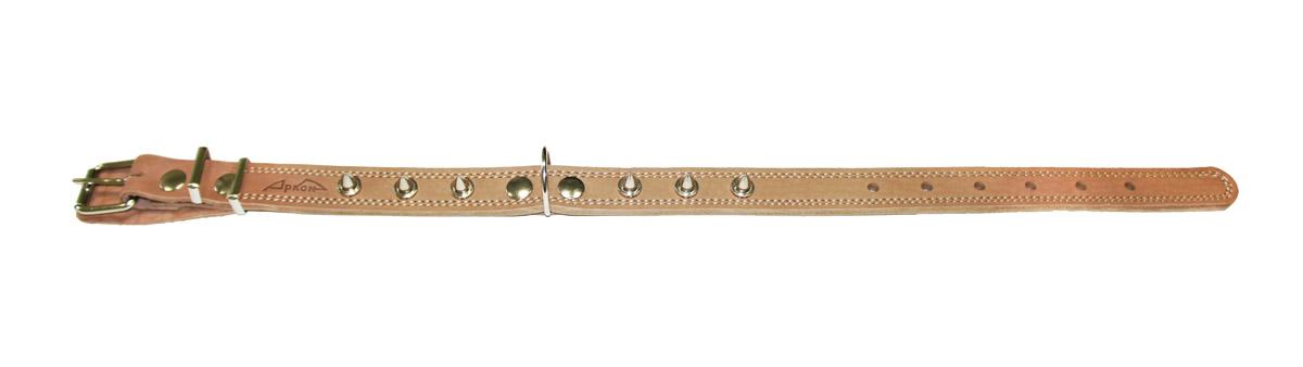Ошейник Аркон Стандарт, с шипами, цвет: бежевый, ширина 2,5 см, длина 71 смо25/2дшОшейник Аркон Стандарт, декорированный металлическими шипами, изготовлен из кожи, устойчивой к влажности и перепадам температур. Клеевой слой, сверхпрочные нити, крепкие металлические элементы делают ошейник надежным и долговечным. Изделие отличается высоким качеством, удобством и универсальностью. Размер ошейника регулируется при помощи пряжки, зафиксированной на одном из 7 отверстий. Минимальный обхват шеи: 48 см. Максимальный обхват шеи: 65 см. Ширина: 2,5 см.