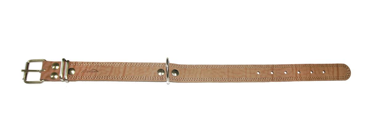 Ошейник Аркон Стандарт, цвет: бежевый, ширина 3,5 см, длина 62 см. о35/1ко35/1кОшейник Аркон Стандарт изготовлен из кожи, устойчивой к влажности и перепадам температур. Клеевой слой, сверхпрочные нити, крепкие металлические элементы делают ошейник надежным и долговечным. Изделие отличается высоким качеством, удобством и универсальностью. Размер ошейника регулируется при помощи пряжки, зафиксированной на одном из 6 отверстий. Минимальный обхват шеи: 41 см. Максимальный обхват шеи: 55 см. Ширина: 3,5 см.