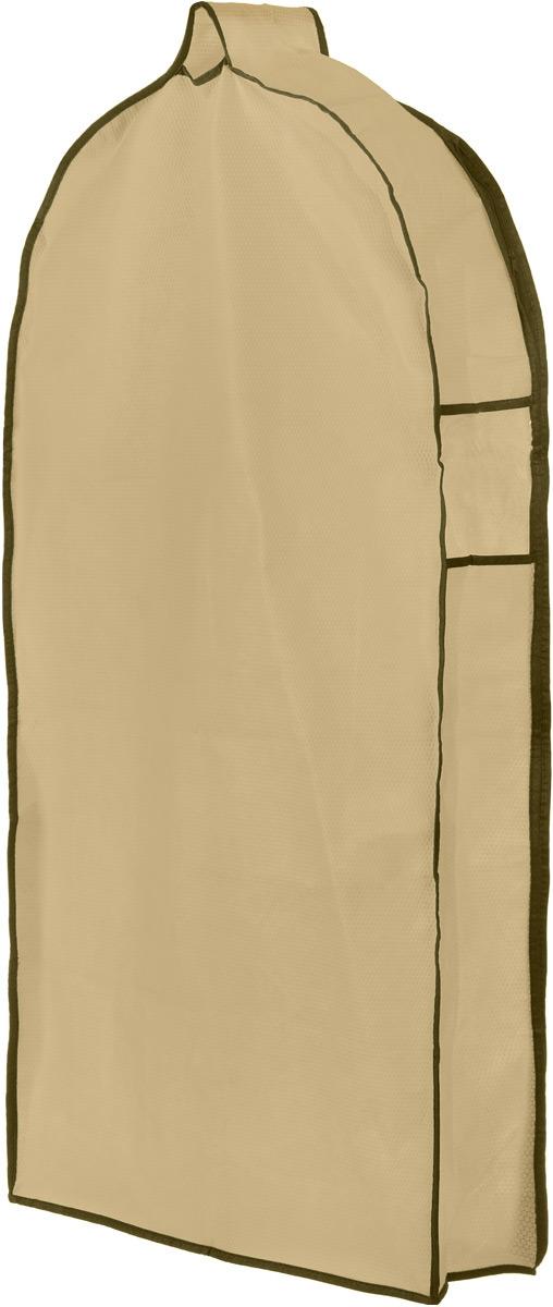 Чехол для одежды El Casa Соты, подвесной, с прозрачной вставкой, цвет: бежевый, 112,5 х 57 х 17 см370068Подвесной чехол для одежды El Casa Соты на застежке-молнии выполнен из высококачественного нетканого материала. Чехол снабжен прозрачной вставкой из ПВХ, что позволяет легко просматривать содержимое. Изделие подходит для длительного хранения вещей. Чехол обеспечит вашей одежде надежную защиту от влажности, повреждений и грязи при транспортировке, от запыления при хранении и проникновения моли. Чехол обладает водоотталкивающими свойствами, а также позволяет воздуху свободно поступать внутрь вещей, обеспечивая их кондиционирование. Это особенно важно при хранении кожаных и меховых изделий. Чехол для одежды El Casa Соты создаст уютную атмосферу в женском гардеробе. Лаконичный дизайн придется по вкусу ценительницам эстетичного хранения и сделают вашу гардеробную изысканной и невероятно стильной. Размер чехла (в собранном виде): 112,5 х 57 х 17 см.