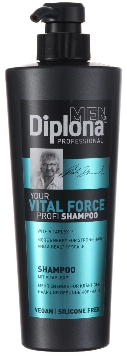 Diplona Professional Шампунь для мужчин Жизненная сила, 600 мл095199Шампунь Diplona Professional Жизненная сила с витаминным комплексом Vitaplex создан специально для мужских волос, очищает волосы и кожу головы. Vitaplex - сбалансированный комплекс витаминов для оживления и восстановления кожи головы. Облегчает процесс расчесывания волос. Пантенол эффективно очищает кожу головы и волосы, оказывает сильное восстанавливающее действие, увлажняет волосы, способствует их росту и препятствует выпадению. Ментол успокаивает кожу головы, стимулирует кровообращение, придает ощущение свежести. Глицерин проникает во внутрь волоса, удерживает в нем влагу, тем самым делает...