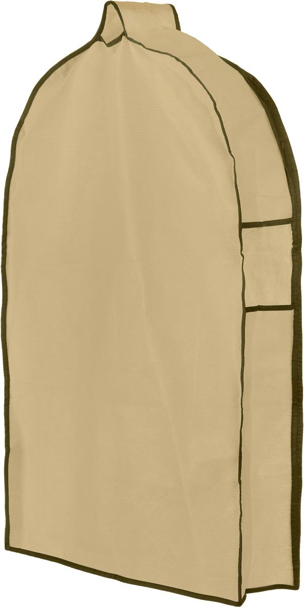Чехол для одежды El Casa Соты, подвесной, с прозрачной вставкой, цвет: бежевый, 82,5 х 57 х 17 см370084Подвесной чехол для одежды El Casa Соты на застежке-молнии выполнен из высококачественного нетканого материала. Чехол снабжен прозрачной вставкой из ПВХ, что позволяет легко просматривать содержимое. Изделие подходит для длительного хранения вещей. Чехол обеспечит вашей одежде надежную защиту от влажности, повреждений и грязи при транспортировке, от запыления при хранении и проникновения моли. Чехол обладает водоотталкивающими свойствами, а также позволяет воздуху свободно поступать внутрь вещей, обеспечивая их кондиционирование. Это особенно важно при хранении кожаных и меховых изделий. Чехол для одежды El Casa Звезды создаст уютную атмосферу в женском гардеробе. Лаконичный дизайн придется по вкусу ценительницам эстетичного хранения и сделает вашу гардеробную изысканной и невероятно стильной. Размер чехла (в собранном виде): 82,5 х 57 х 17 см.
