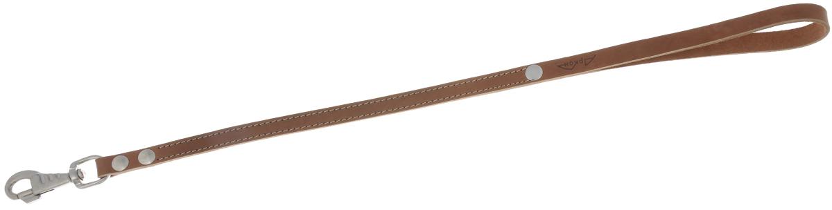 Водилка для собак Аркон Стандарт, цвет: коньячный, ширина 1,6 см, длина 60 смв16/2кВодилка для собак Аркон Стандарт изготовлена из высококачественной натуральной кожи. Карабин выполнен из сверхпрочного металла. Водилка - это короткий поводок, состоящий из одной ручки с петлей и мощного карабина. Этот поводок используется для ведения большой собаки рядом. Изделие отличается не только исключительной надежностью и удобством, но и привлекательным современным дизайном. Длина водилки: 60 см. Ширина водилки: 1,6 см.