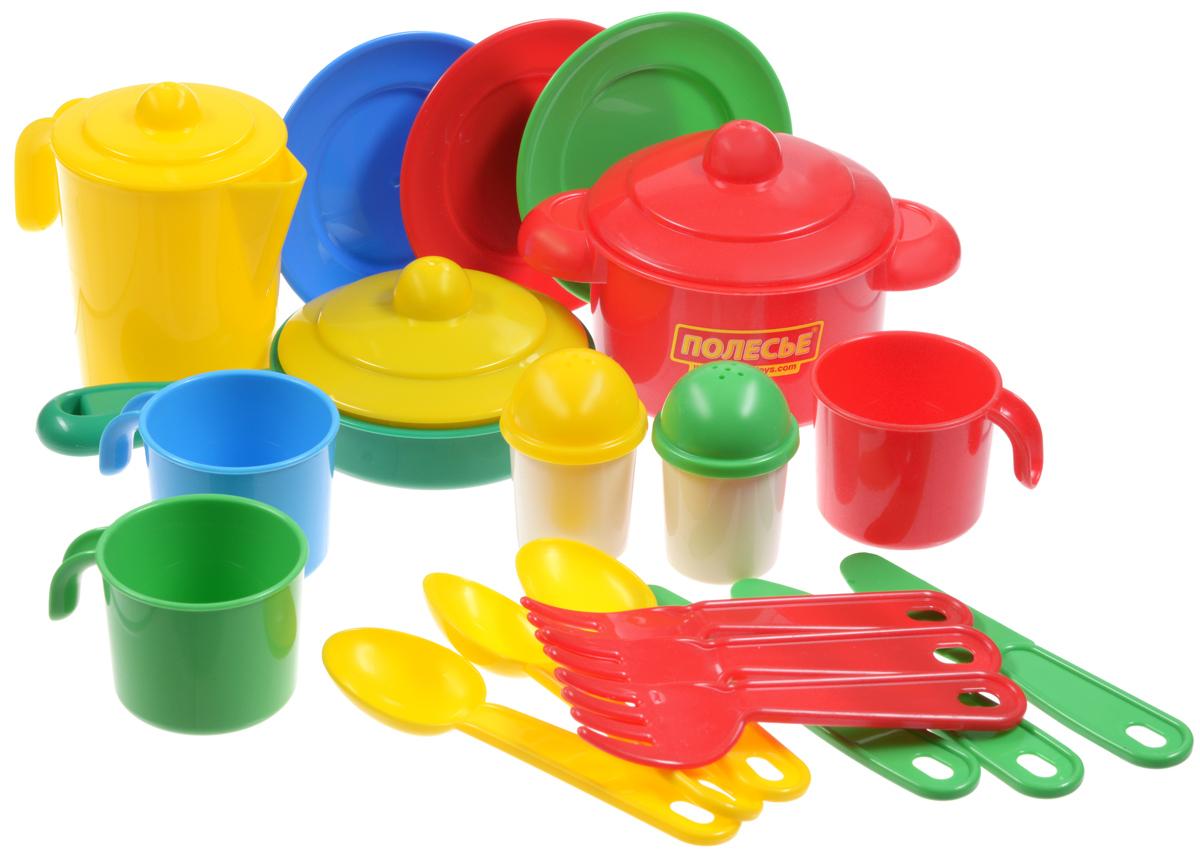Полесье Набор детской посуды Настенька цвет красный зеленый желтый 20 предметов3919_красный, зеленый, желтыйЯркий набор детской посуды Полесье Настенька прекрасно подойдет вашей дочке для веселых игр. Предметы набора выполнены из высококачественного и безопасного пластика. Набор включает в себя посуду на трех персон. В состав набора входят три чашки, три тарелки, три ложки, три вилки, три ножа, чайник с крышкой, солонка, перечница, кастрюля с крышкой и сковородка с крышкой. Такой набор станет прекрасным дополнением к игровой ситуации с приглашением гостей к столу!