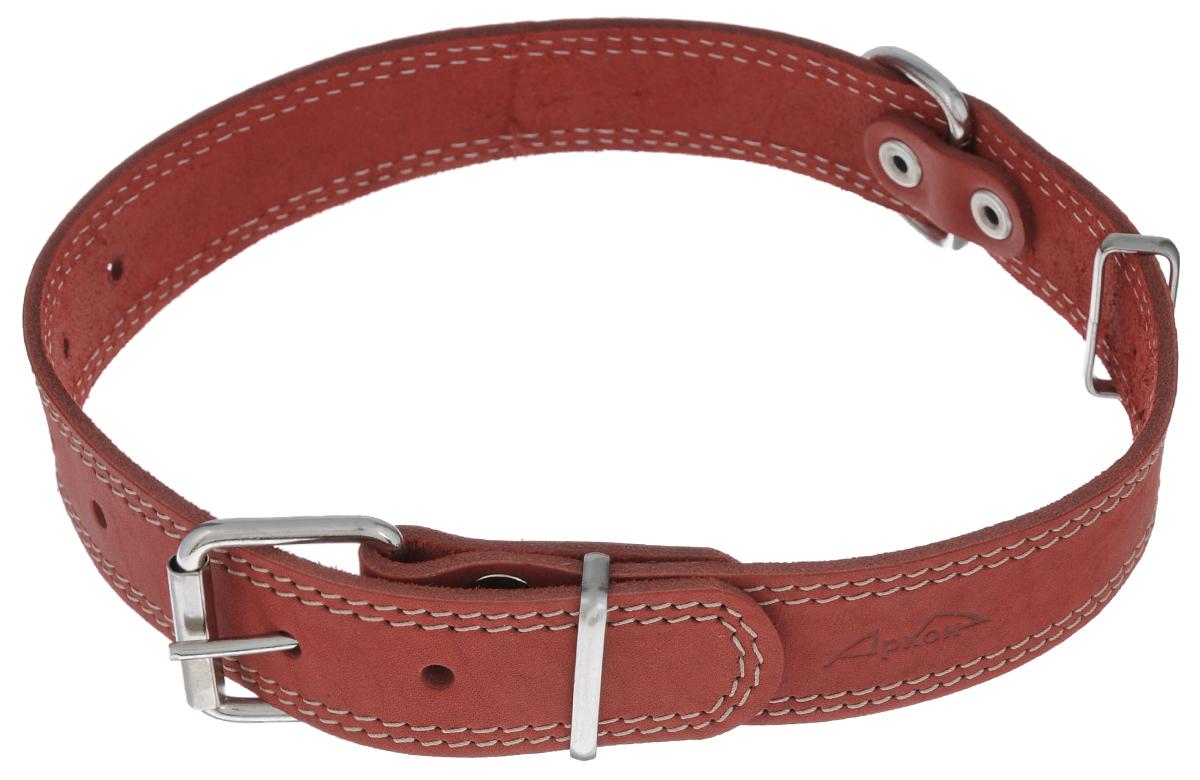 Ошейник Аркон Стандарт, цвет: красный, ширина 3,5 см, длина 70 см. о35/1со35/1скрОшейник Аркон Стандарт изготовлен из кожи, устойчивой к влажности и перепадам температур. Клеевой слой, сверхпрочные нити, крепкие металлические элементы делают ошейник надежным и долговечным. Изделие отличается высоким качеством, удобством и универсальностью. Размер ошейника регулируется при помощи пряжки, зафиксированной на одном из 7 отверстий. Минимальный обхват шеи: 48 см. Максимальный обхват шеи: 65 см. Ширина: 2,5 см.