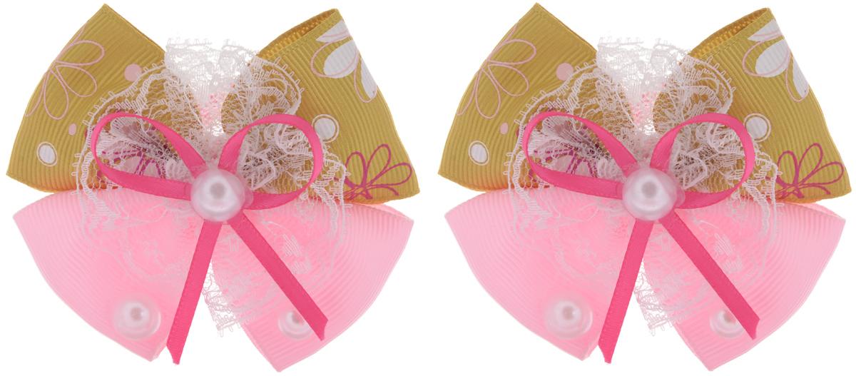 Baby's Joy Резинка для волос цвет горчичный розовый 2 шт MN 135