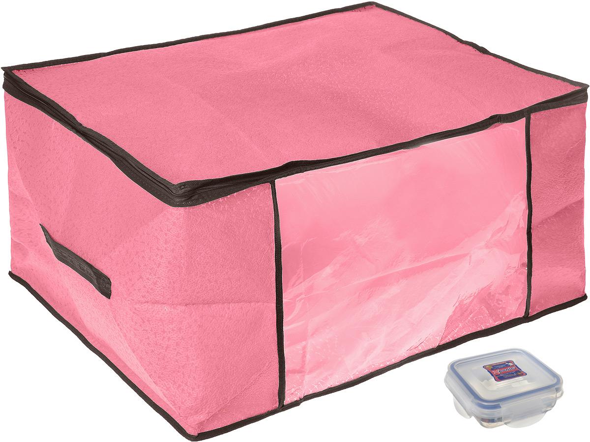 Кофр для хранения El Casa Звезды, цвет: розовый, 60 х 45 х 30 см + ПОДАРОК: Контейнер пищевой Xeonic, 110 мл370192+2Вместительный кофр El Casa Звезды, изготовленный из дышащего нетканого волокна, предназначен для хранения одеял, пледов и домашнего текстиля. Кофр снабжен прозрачной вставкой из ПВХ, что позволяет легко просматривать содержимое. Специальный нетканый материал позволяет воздуху проникать внутрь, при этом надежно защищая вещи от грязи, пыли и насекомых. Закрывается на застежку-молнию. Оригинальный дизайн сделает вашу гардеробную красивой и невероятно стильной. Размер кофра (в собранном виде): 60 см х 45 см х 30 см. В подарок к кофру прилагается герметичный контейнер для хранения продуктов Xeonic, изготовленный из высококачественного полипропилена. Изделие термоустойчиво, может быть использовано в микроволновой печи и в морозильной камере, устойчиво к воздействию масел и жиров, не впитывает запах. Контейнер удобен в использовании, долговечен, легко открывается и закрывается. Герметичность обеспечивается четырьмя защелками и силиконовой прослойкой...