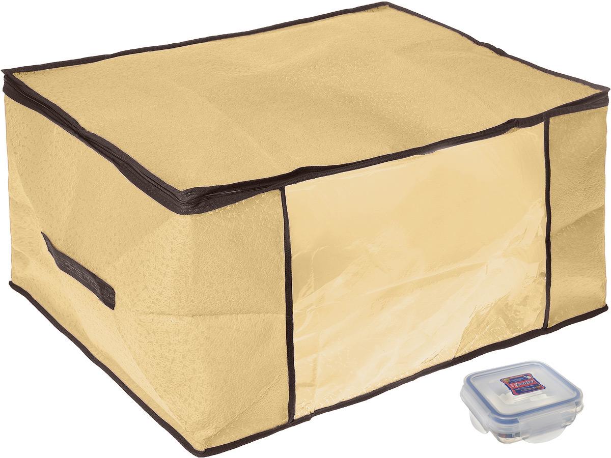 Кофр для хранения El Casa Звезды, складной, цвет: бежевый, 60 x 45 x 30 см + ПОДАРОК: Контейнер для хранения продуктов Xeonic, 110 мл370191+2Вместительный кофр El Casa Звезды, изготовленный из дышащего нетканого волокна, предназначен для хранения одеял, пледов и домашнего текстиля. Специальный нетканый материал позволяет воздуху проникать внутрь, при этом надежно защищая вещи от грязи, пыли и насекомых. Имеется специальная прозрачная вставка, которая позволяет легко определить содержимое. Оригинальный дизайн сделает вашу гардеробную красивой и невероятно стильной. Размер кофра (в собранном виде): 60 см х 45 см х 30 см. В подарок к кофру прилагается герметичный контейнер для продуктов. Контейнер для хранения продуктов выполнен из высококачественного полипропилена. Он имеет 100% герметичность, термоустойчив, может быть использован в микроволновой печи и в морозильной камере, устойчив к воздействию масел и жиров, не впитывает запах. Удобен в использовании, долговечен, легко открывается и закрывается, не занимает много места. Контейнер можно мыть в посудомоечной машине....