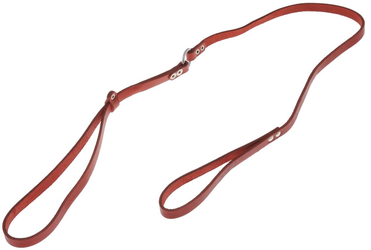 Ринговка для собак Аркон Стандарт, цвет: красный, ширина 1,2 см, длина 110 смр12крРинговка Аркон Стандарт - это специальный поводок, состоящий из петли с фиксатором и, собственно, поводка. Выполнена из натуральной кожи, фурнитура - из высококачественного металла. Ринговка является самым распространенным видом амуниции для показа собаки на выставке или занятий рингдрессурой. Ринговку подбирают в тон окраса собаки, если собака пятнистая - то в тон преобладающего окраса или, наоборот, контрастную. Максимальный обхват шеи: 63 см. Ширина: 1,2 см. Длина: 110 см.