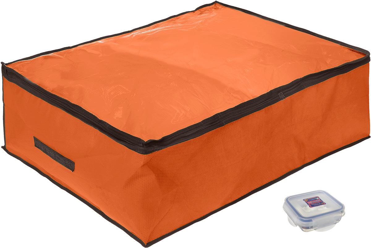 """Кофр для хранения El Casa """"Соты"""", складной, цвет: оранжевый, 80 x 60 x 25 см + ПОДАРОК: Контейнер для хранения продуктов """"Xeonic"""","""