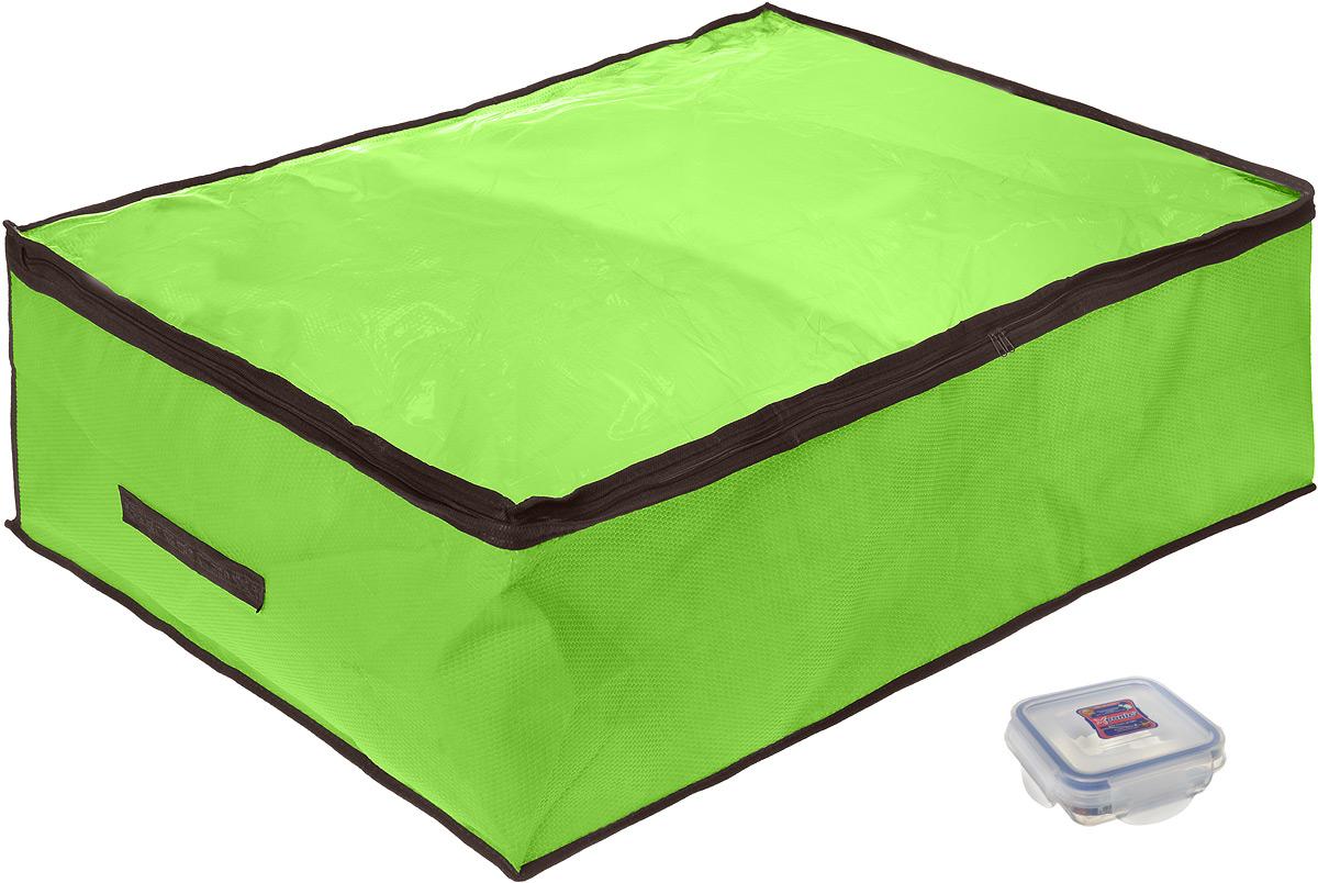 """Кофр для хранения El Casa """"Звезды"""", складной, цвет: зеленый, 80 x 60 x 25 см + ПОДАРОК: Контейнер для хранения продуктов """"Xeonic"""","""