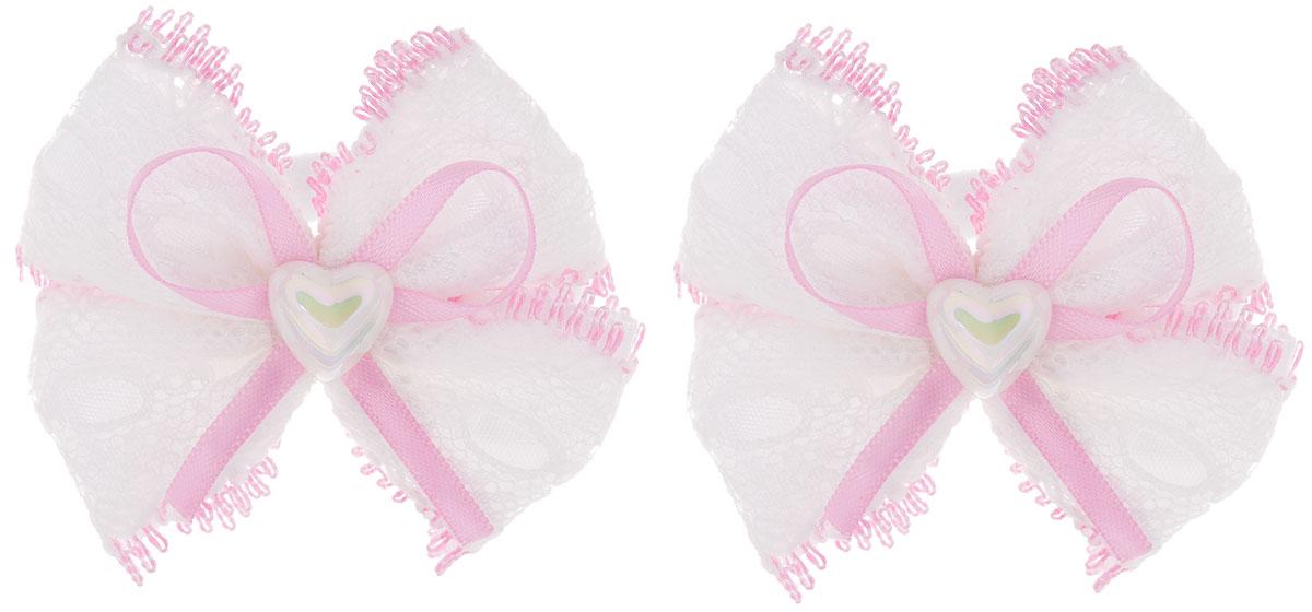 Baby's Joy Резинка для волос цвет розовый белый 2 шт MN 13