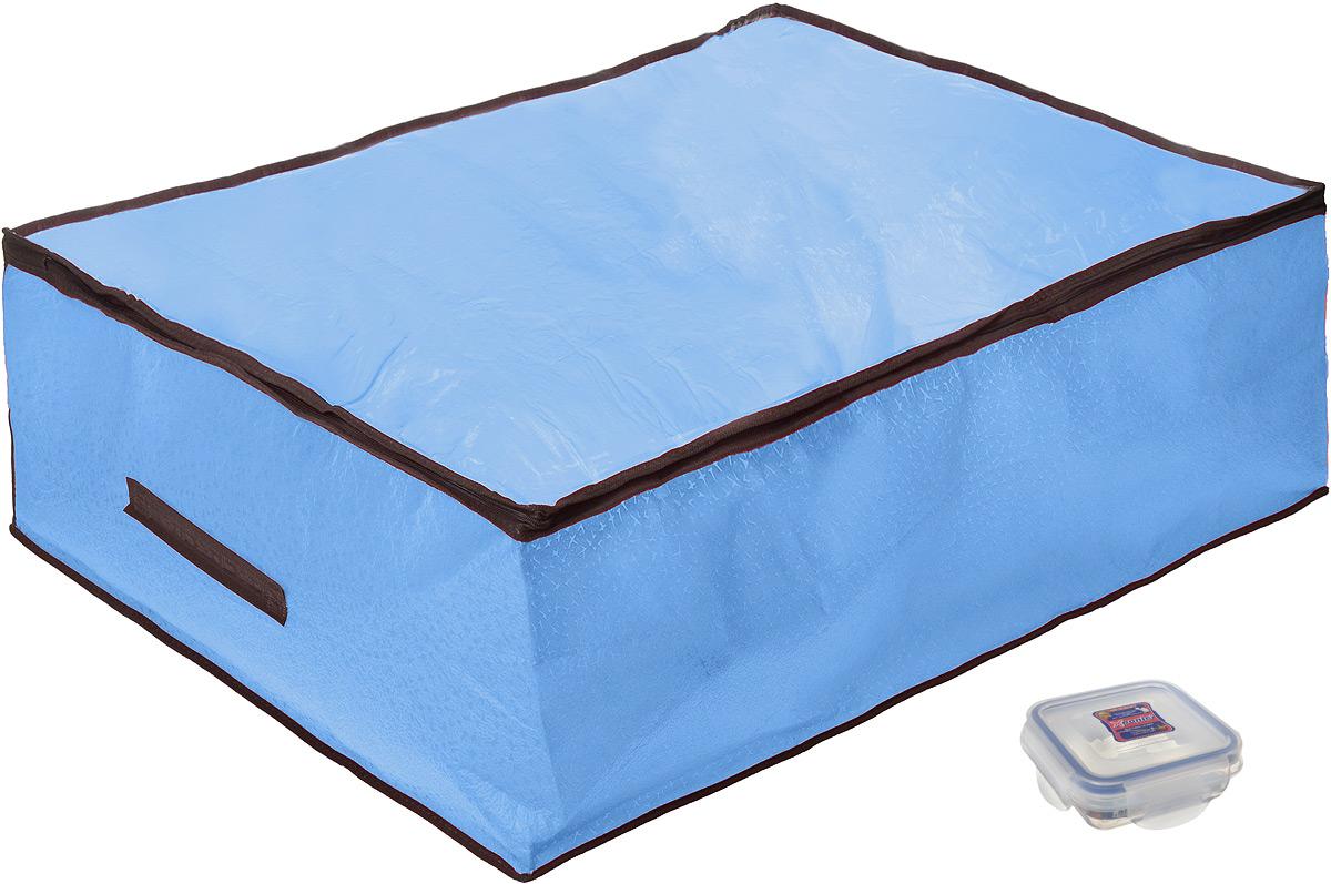 Кофр для хранения El Casa Звезды, складной, цвет: голубой, 80 x 60 x 25 см + ПОДАРОК: Контейнер для хранения продуктов Xeonic, 110 мл370181+2Вместительный кофр El Casa Звезды, изготовленный из дышащего нетканого волокна, предназначен для хранения одеял, пледов и домашнего текстиля. Специальный нетканый материал позволяет воздуху проникать внутрь, при этом надежно защищая вещи от грязи, пыли и насекомых. Прозрачная крышка кафра позволяет легко определить содержимое и закрывается на застежку-молнию. Оригинальный дизайн сделает вашу гардеробную красивой и невероятно стильной. Размер кофра (в собранном виде): 80 см х 60 см х 25 см. В подарок к кофру прилагается герметичный контейнер для продуктов. Контейнер для хранения продуктов выполнен из высококачественного полипропилена. Он имеет 100% герметичность, термоустойчив, может быть использован в микроволновой печи и в морозильной камере, устойчив к воздействию масел и жиров, не впитывает запах. Удобен в использовании, долговечен, легко открывается и закрывается, не занимает много места. Контейнер можно мыть в посудомоечной...
