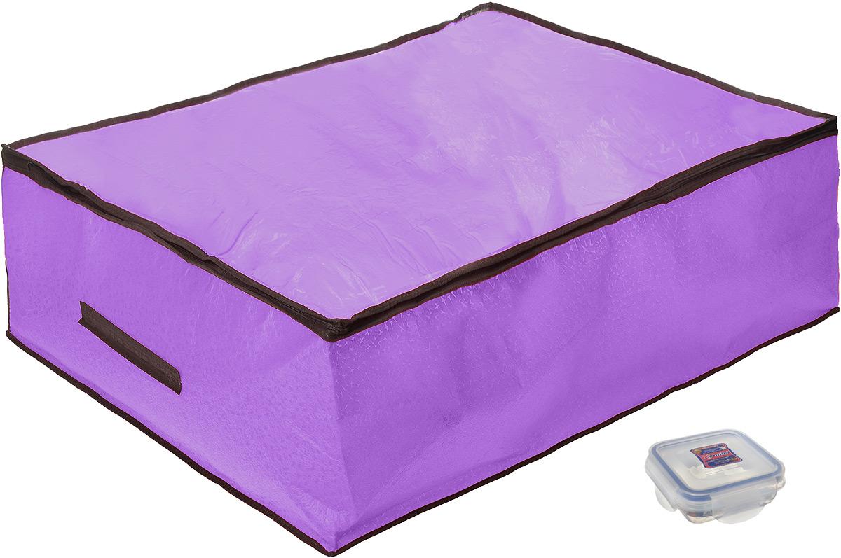 Кофр для хранения El Casa Звезды, цвет: фиолетовый, 80 x 60 x 25 см + ПОДАРОК: Контейнер пищевой Xeonic, 110 мл370182+2Вместительный кофр El Casa Звезды, изготовленный из дышащего нетканого волокна, предназначен для хранения одеял, пледов и домашнего текстиля. Кофр снабжен прозрачной вставкой из ПВХ, что позволяет легко просматривать содержимое. Специальный нетканый материал позволяет воздуху проникать внутрь, при этом надежно защищая вещи от грязи, пыли и насекомых. Закрывается на застежку-молнию. Оригинальный дизайн сделает вашу гардеробную красивой и невероятно стильной. Размер кофра (в собранном виде): 80 см х 60 см х 25 см. В подарок к кофру прилагается герметичный контейнер для хранения продуктов Xeonic, изготовленный из высококачественного полипропилена. Изделие термоустойчиво, может быть использовано в микроволновой печи и в морозильной камере, устойчиво к воздействию масел и жиров, не впитывает запах. Контейнер удобен в использовании, долговечен, легко открывается и закрывается. Герметичность обеспечивается четырьмя защелками и силиконовой прослойкой на...