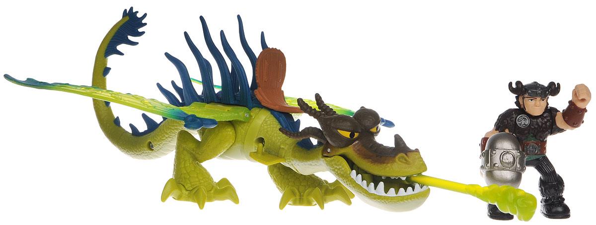 Dragons Игровой набор Snotlout & Hookfang цвет дракона салатовый66594_20071831Игровой набор Dragons Snotlout & Hookfang обязательно понравится вашему ребенку. Он включает фигурку дракона Кривоклыка, фигурку Сморкалы и оружие для сражений, отлично умещающийся в руку Сморкалы. Фигурки героя и дракона выполнены из прочного пластика и устойчивы к повреждениям. Фигурку Сморкалы можно посадить на Кривоклыка и устраивать незабываемые полеты. Кривоклык способен атаковать врага огнем (пластиковой стрелой, также входящей в комплект). Порадуйте вашего ребенка таким замечательным подарком!