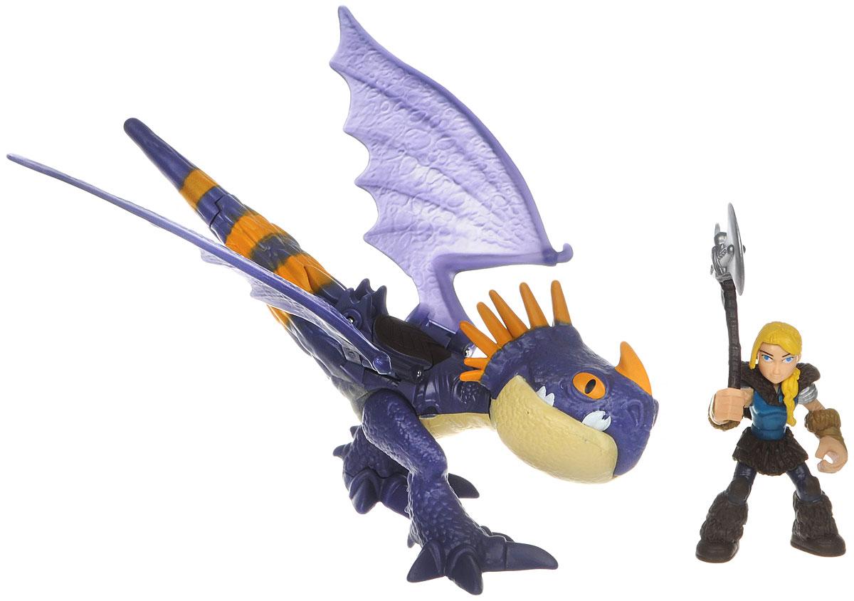 Dragons Игровой набор Astrid & Stormfly цвет дракона фиолетовый66594_20071830Игровой набор Dragons Astrid & Stormfly обязательно понравится вашему ребенку. Он включает фигурку дракона, фигурку Астрид и оружие для сражений, которое помещается в руке Астрид. Фигурки героини и дракона выполнены из прочного пластика и устойчивы к повреждениям. Фигурку Астрид можно посадить на дракона и устраивать незабываемые полеты. Если нажать кнопку на спине дракона, часть хвоста отделиться и атакует врага. Порадуйте вашего ребенка таким замечательным подарком!