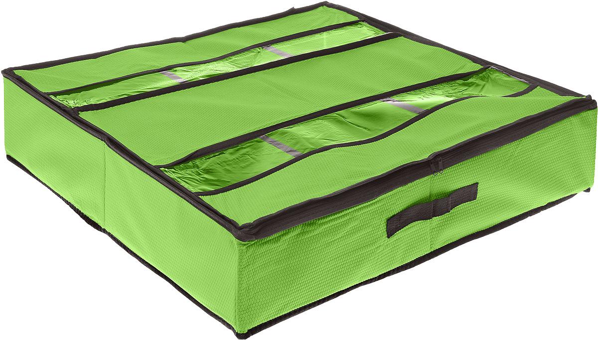 Кофр для хранения обуви El Casa Соты, цвет: салатовый, 6 секций, 60 х 55 х 13 см370001Вместительный кофр El Casa Соты изготовлен из высококачественного прочного нетканого материала и предназначен для долговременного хранения обуви. Кофр, закрывающийся крышкой на застежку-молнию, содержит 6 секций. Крышка, оснащенная вставками из прозрачного ПВХ, позволяет видеть содержимое. Для удобства в обращении имеется ручка. Кофр защитит вашу обувь от повреждений, пыли, влаги и загрязнений во время хранения и транспортировки. Он пропускает воздух и отталкивает воду. Изделие гармонично смотрится в любом интерьере, привнося в него изысканность и дизайнерскую изюминку. Кофр - это новый взгляд на систему хранения - теперь хранить вещи не только удобно, но и красиво. Размер кофра: 60 х 55 х 13 см. Количество секций: 6 шт.
