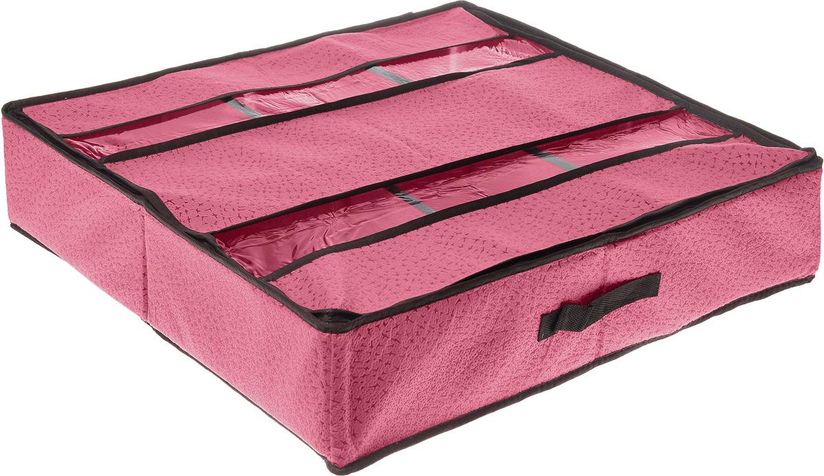 Кофр для хранения обуви El Casa Звезды, цвет: розовый, 6 секций, 60 х 55 х 13 см370008Вместительный кофр El Casa Звезды изготовлен из высококачественного прочного нетканого материала и предназначен для долговременного хранения обуви. Кофр, закрывающийся крышкой на застежку-молнию, содержит 6 секций. Крышка, оснащенная вставками из прозрачного ПВХ, позволяет видеть содержимое. Для удобства в обращении имеется ручка. Кофр защитит вашу обувь от повреждений, пыли, влаги и загрязнений во время хранения и транспортировки. Он пропускает воздух и отталкивает воду. Изделие гармонично смотрится в любом интерьере, привнося в него изысканность и дизайнерскую изюминку. Кофр - это новый взгляд на систему хранения - теперь хранить вещи не только удобно, но и красиво. Размер кофра: 60 х 55 х 13 см. Количество секций: 6 шт.