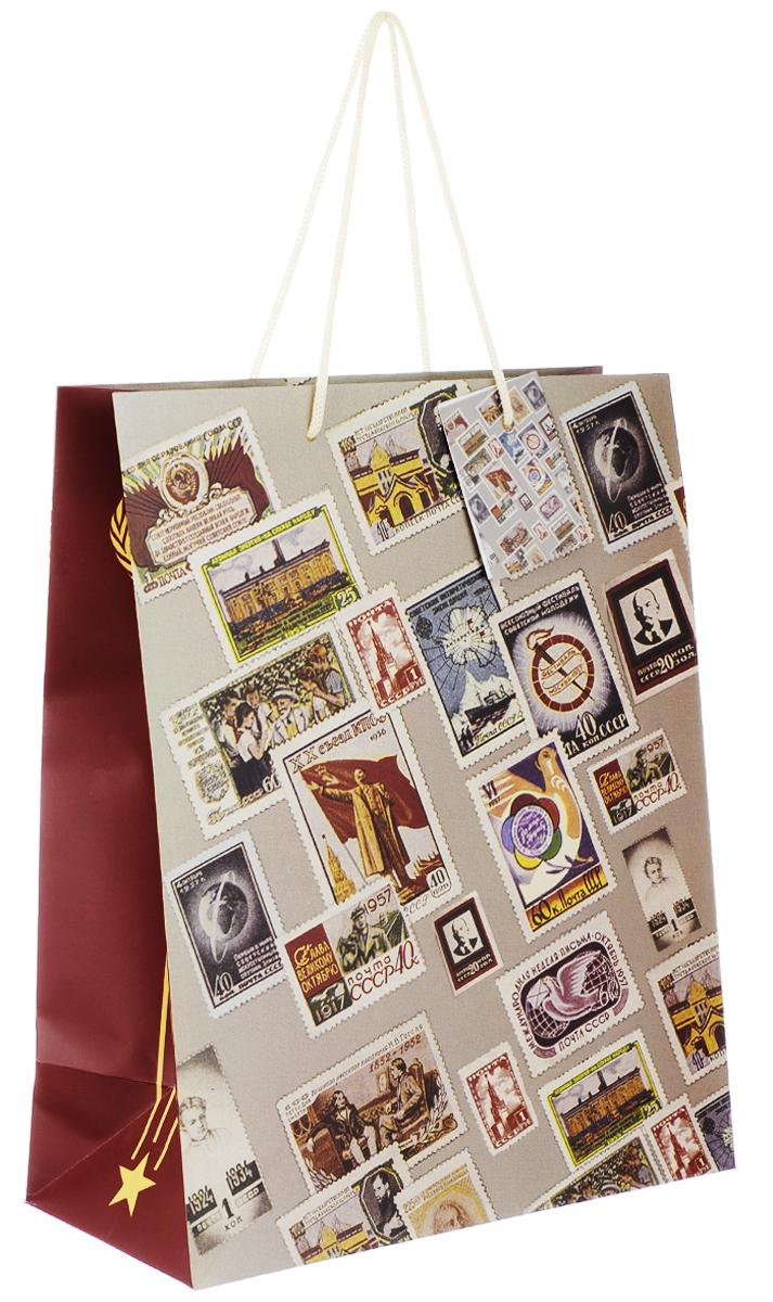 Пакет подарочный Феникс-Презент Почтовые марки, 26 х 12,7 х 32,4 см39662Подарочный пакет Феникс-презент Почтовые марки, изготовленный из плотной бумаги, станет незаменимым дополнением к выбранному подарку. Дно изделия укреплено картоном, который позволяет сохранить форму пакета и исключает возможность деформации дна под тяжестью подарка. Пакет выполнен с глянцевой ламинацией, что придает ему прочность, а изображению - яркость и насыщенность цветов. Для удобной переноски на пакете имеются две ручки из шнурков. Подарок, преподнесенный в оригинальной упаковке, всегда будет самым эффектным и запоминающимся. Окружите близких людей вниманием и заботой, вручив презент в нарядном, праздничном оформлении. Плотность бумаги: 140 г/м2.