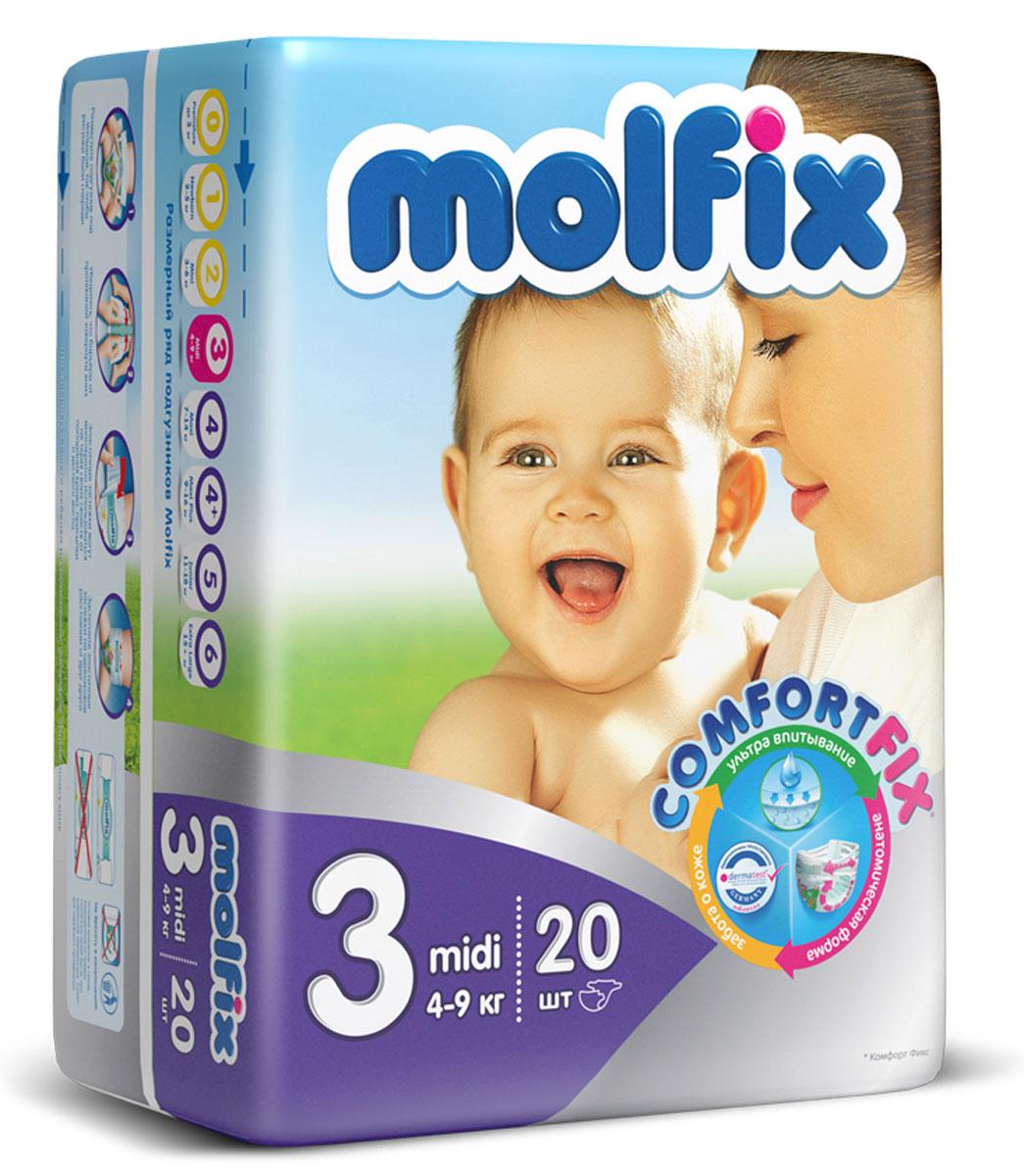Подгузники Molfix Миди (4-9 кг), 20 шт14907Новинка! Ни для кого не секрет, что каждая мама хочет обеспечить защиту и комфорт для своего малыша. Новые премиальные подгузники Molfix отвечают самым высоким стандартам качества категории и соответствуют ожиданиям даже самых взыскательных мам: они отлично впитывают, тонкие и эластичные, обеспечивают малышам надежную защиту, комфорт и хорошее настроение. Подгузники Molfix дерматологически протестированы и одобрены независимым исследовательским институтом Dermatest GmbH (Германия). Особенности: • Специальный ультра впитывающий слой обеспечивает быстрое впитывание; • Тонкая анатомическая структура для комфорта малыша; • Ультра эластичные боковинки обеспечивают свободу движений; • «Дышащий» внешний слой и ультра мягкий внутренний слой для заботы о коже малыша; • Защитные барьерчики обеспечивают защиту от протеканий. В каждой упаковке подгузников Molfix веселые и красочные дизайны на подгузниках!