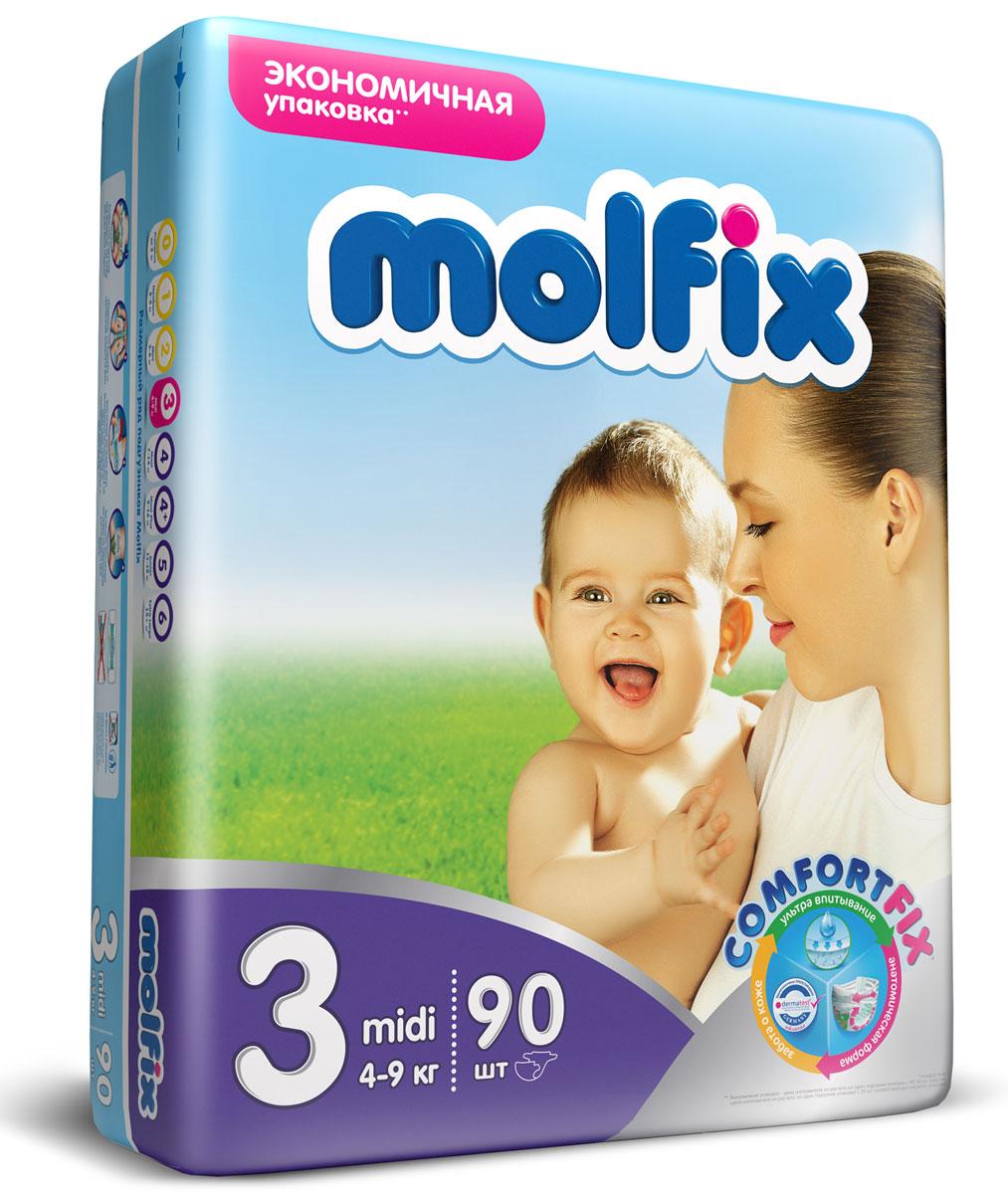 Подгузники Molfix Миди (4-9 кг), 90 шт14915Новинка! Ни для кого не секрет, что каждая мама хочет обеспечить защиту и комфорт для своего малыша. Новые премиальные подгузники Molfix отвечают самым высоким стандартам качества категории и соответствуют ожиданиям даже самых взыскательных мам: они отлично впитывают, тонкие и эластичные, обеспечивают малышам надежную защиту, комфорт и хорошее настроение. Подгузники Molfix дерматологически протестированы и одобрены независимым исследовательским институтом Dermatest GmbH (Германия). Особенности: • Специальный ультра впитывающий слой обеспечивает быстрое впитывание; • Тонкая анатомическая структура для комфорта малыша; • Ультра эластичные боковинки обеспечивают свободу движений; • «Дышащий» внешний слой и ультра мягкий внутренний слой для заботы о коже малыша; • Защитные барьерчики обеспечивают защиту от протеканий. В каждой упаковке подгузников Molfix веселые и красочные дизайны на подгузниках!