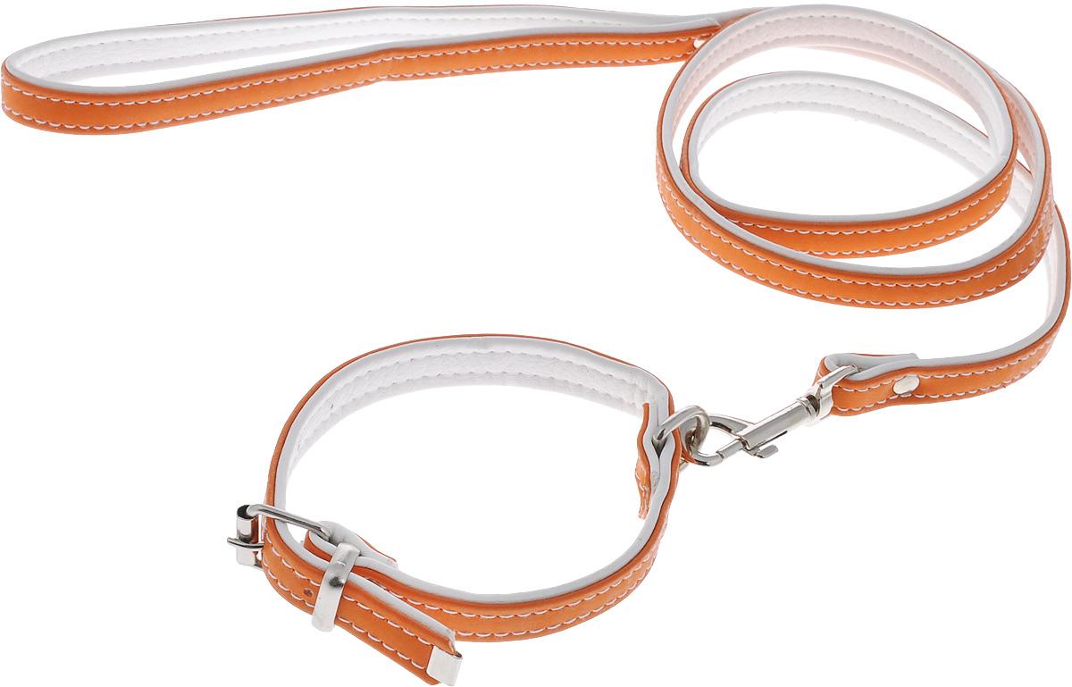 Комплект для животных Аркон Техно, цвет: оранжевый, белый, 2 предмета. кт37кт37оКомплект для животных Аркон Техно состоит из ошейника и поводка. Изделия изготовлены из искусственной кожи, фурнитура - из сверхпрочных сплавов металла. Надежная конструкция обеспечит вашему четвероногому другу комфортную и безопасную прогулку. Такой комплект подходит как для кошек, так и для мелких пород собак. Длина поводка: 1,1 м. Ширина поводка: 1,4 см. Обхват шеи: 24 - 30 см. Ширина ошейника: 1,5 см.