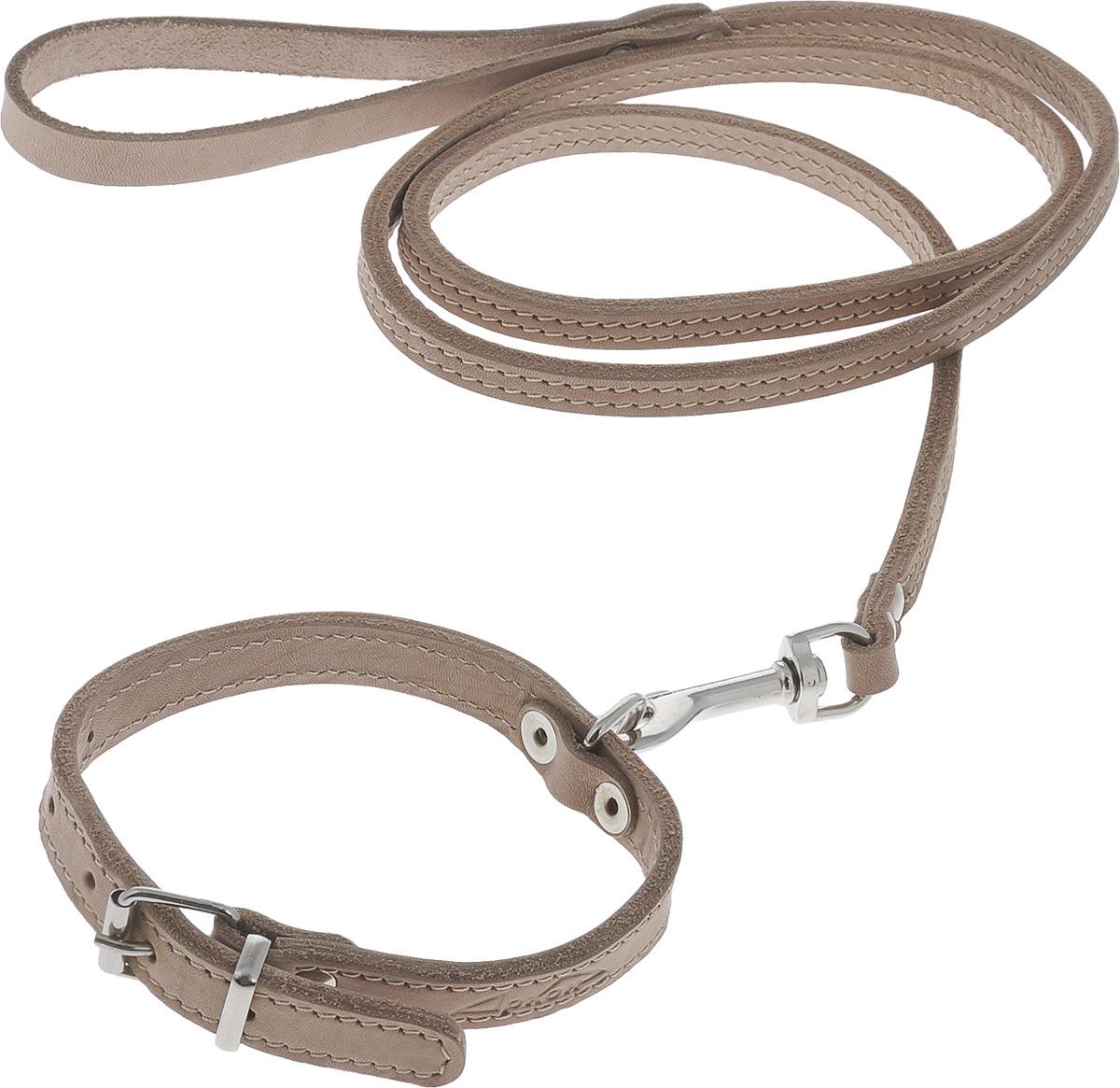 Комплект для собак Аркон Стандарт №7, цвет: светло-коричневый, 2 предметак7Комплект для животных Аркон Стандарт №7 состоит из ошейника и поводка. Изделия изготовлены из высококачественного металла и прошитой в два слоя натуральной кожи. Надежная конструкция обеспечит вашему четвероногому другу комфортную и безопасную прогулку. Такой комплект подходит для мелких и средних пород собак. Длина поводка: 1,4 м. Ширина поводка: 1 см. Обхват шеи: 25 - 33 см. Ширина ошейника: 1,6 см.