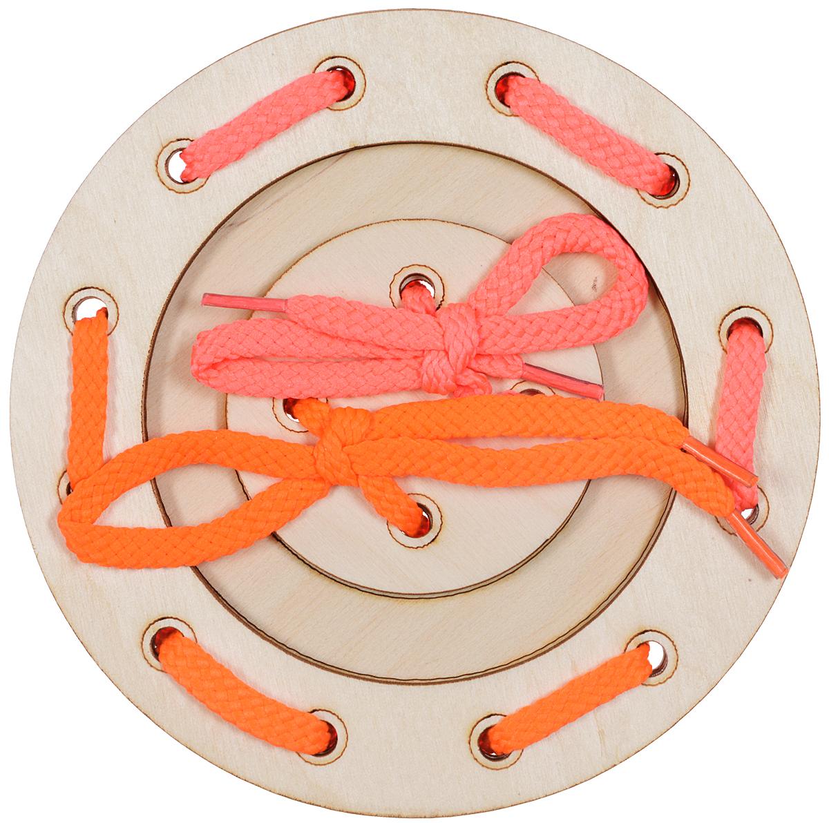 Мастер Вуд Игра-шнуровка Пуговичка цвет розовый оранжевыйДШ-1Игра-шнуровка Мастер Вуд Пуговичка - яркая и несложная игрушка, которая очень понравится вашему малышу. Она выполнена из дерева лиственных пород в виде пуговки, состоящей из трех элементов. Задача малыша - продеть два шнурка разных цветов в отверстия основы, собрав пуговку. Игрушка-шнуровка развивает воображение, пространственное мышление, координацию движений, ловкость, положительно влияет на эмоциональное состояние ребенка и его настроение.