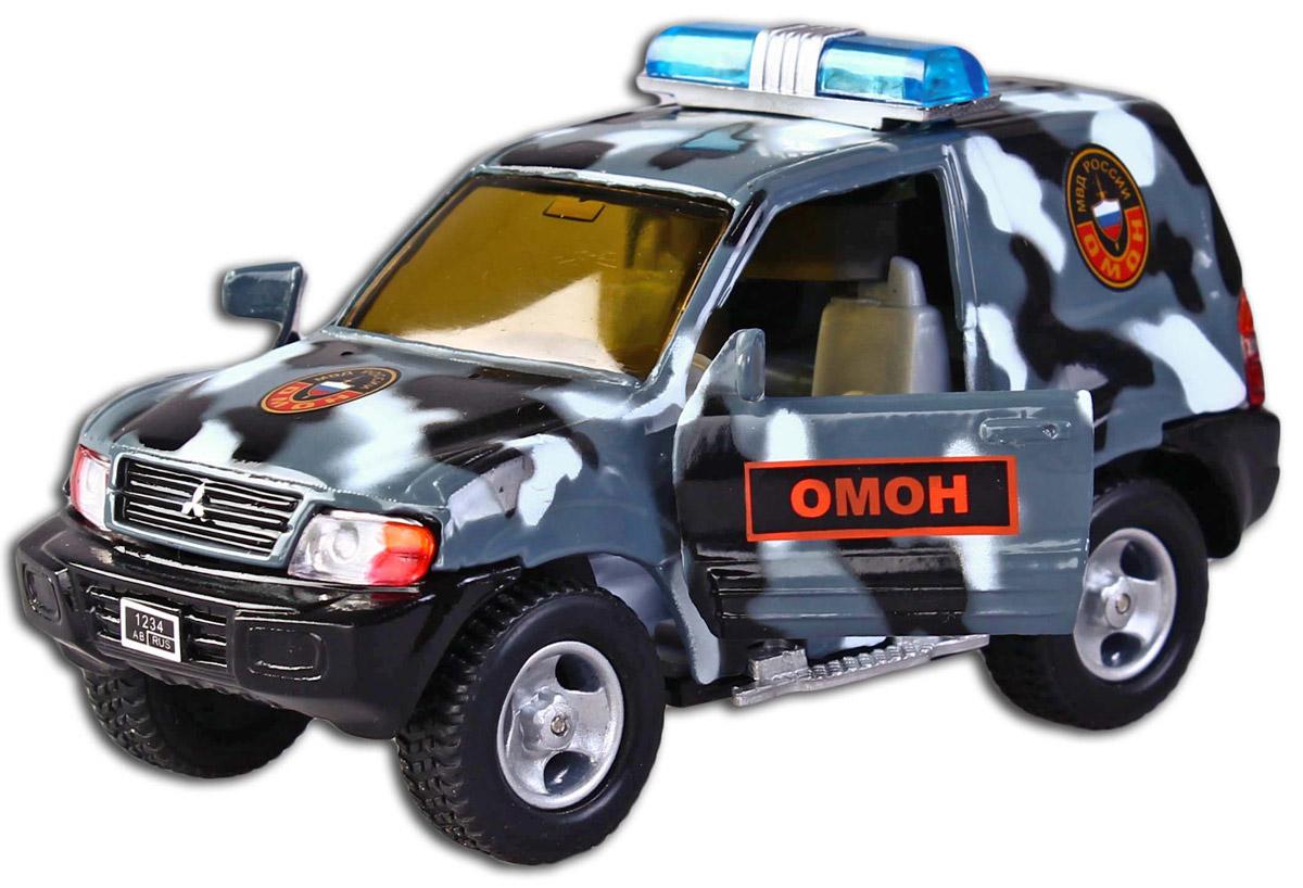 Пламенный мотор Машина инерционная Mitsubishi Омон87514Металлическая модель выполнена с учетом всех деталей и особенностей оригинала – внедорожника Mitsubishi. Игрушка с инерционным механизмом: стоит только откатить машинку назад, а затем отпустить, и она поедет вперед. У машины открываются двери. Если нажать на кнопку, расположенную на крыше, то послышится спецсигнал и замигает проблесковый маячок. Выполнена в масштабе 1:43. Технические характеристики: Игрушка работает от двух батареек LR41 1,5V (в комплекте).