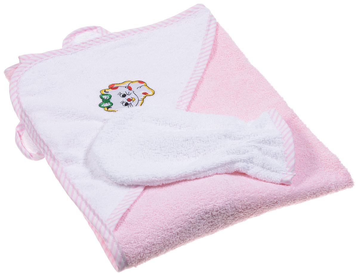 Фея Комплект для купания 2 предмета цвет розовый1013_розовыйКомплект для купания Фея, состоящий из полотенца с капюшоном и рукавицы для мытья, изготовлен из нежной, хорошо впитывающей влагу высококачественной махровой ткани (100% хлопка), обладающей легким массирующим эффектом и быстро сохнущей. Полотенце с капюшоном с ушками, декорированное изображением милого котенка, позволяет полностью завернуть малыша и защитить его от простуды, а при помощи рукавички вы сможете деликатно помыть ребенка, не поцарапав его. Такой комплект идеально подходит для ухода за ребенком после купания.