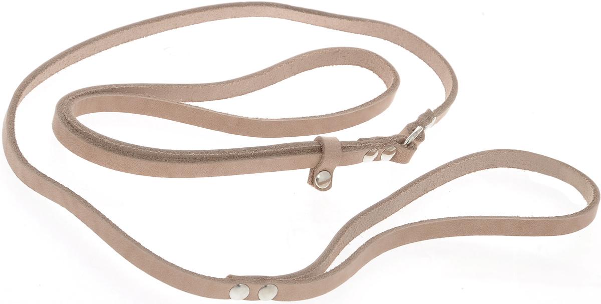 Ринговка для собак Аркон Стандарт, цвет: бежевый, ширина 0,8 см, длина 110 смр8Ринговка Аркон Стандарт - это специальный поводок, состоящий из петли с фиксатором и, собственно, поводка. Выполнена из натуральной кожи, фурнитура - из высококачественного металла. Ринговка является самым распространенным видом амуниции для показа собаки на выставке или занятий рингдрессурой. Ринговку подбирают в тон окраса собаки, если собака пятнистая - то в тон преобладающего окраса или, наоборот, контрастную. Ширина: 0,8 см. Длина: 110 см.