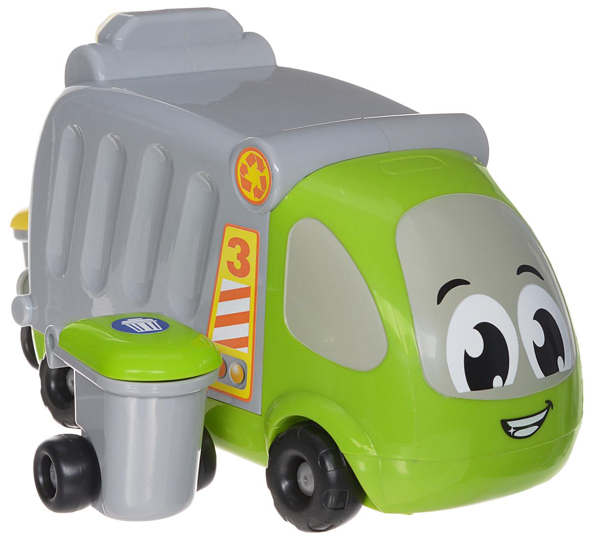 Smoby Мусоровоз Vroom Planet211289Оригинальный мусоровоз Vroom Planet обязательно заинтересуют вашего малыша! В наборе вместе с машинкой идут два мусорных бака с колесами и открывающимися крышками. Бак устанавливается сзади машины, затем захватывается специальными приспособлениями, и мусор опрокидывается в контейнер. В качестве мусора можно использовать любые другие предметы. Внимание ребенка привлекут яркие цвета и оригинальный дизайн игрушек. Игрушки имеют округлую форму и изготовлены из прочного безопасного материала, поэтому с ними могут играть даже самые маленькие любители техники. Машинка легко едет вперед и назад, имеют обтекаемую безопасную форму без острых углов и мелких деталей. Игры с разноцветными машинками полезны для фантазии, они стимулируют ребенка к действиям и придумыванию, развивают мелкую моторику и тренируют пальчики, улучшают координацию движений.