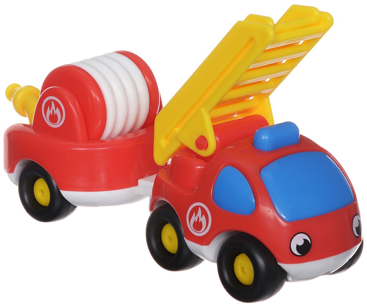 Smoby Пожарный мини-грузовик с прицепом211061Пожарный мини-грузовик Smoby непременно привлечет внимание вашего малыша. Игрушка выполнена из абсолютно безопасного для малыша высококачественного пластика. К грузовичку прилагается съемный пожарный прицеп и раздвижная лестница. Колеса машинки крутятся, поэтому она легко катается по ровной поверхности. Плавные формы без острых углов, яркие цвета и нарисованные глазки - все это выгодно выделяет эту игрушку из ряда подобных. Игра с яркой игрушкой помогает развивать мелкую моторику, цветовое восприятие, координацию движений, а также являются хорошим средством для развлечения ребенка. Порадуйте своего малыша таким замечательным подарком.